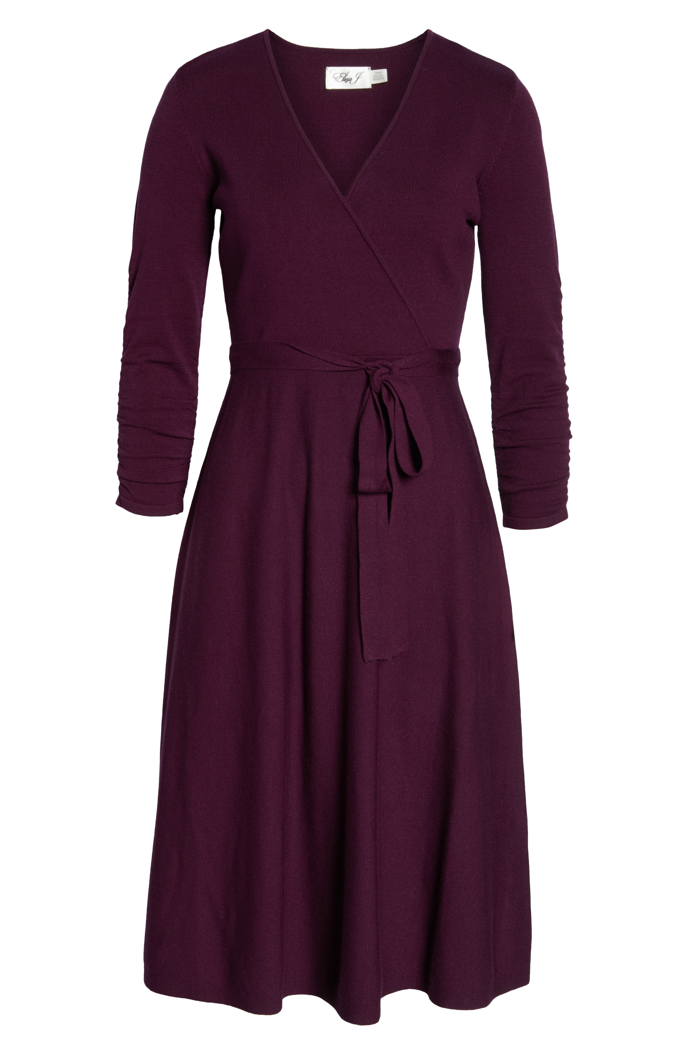 ELIZA J, Faux Wrap Sweater Dress, Alternate thumbnail 7, color, 930
