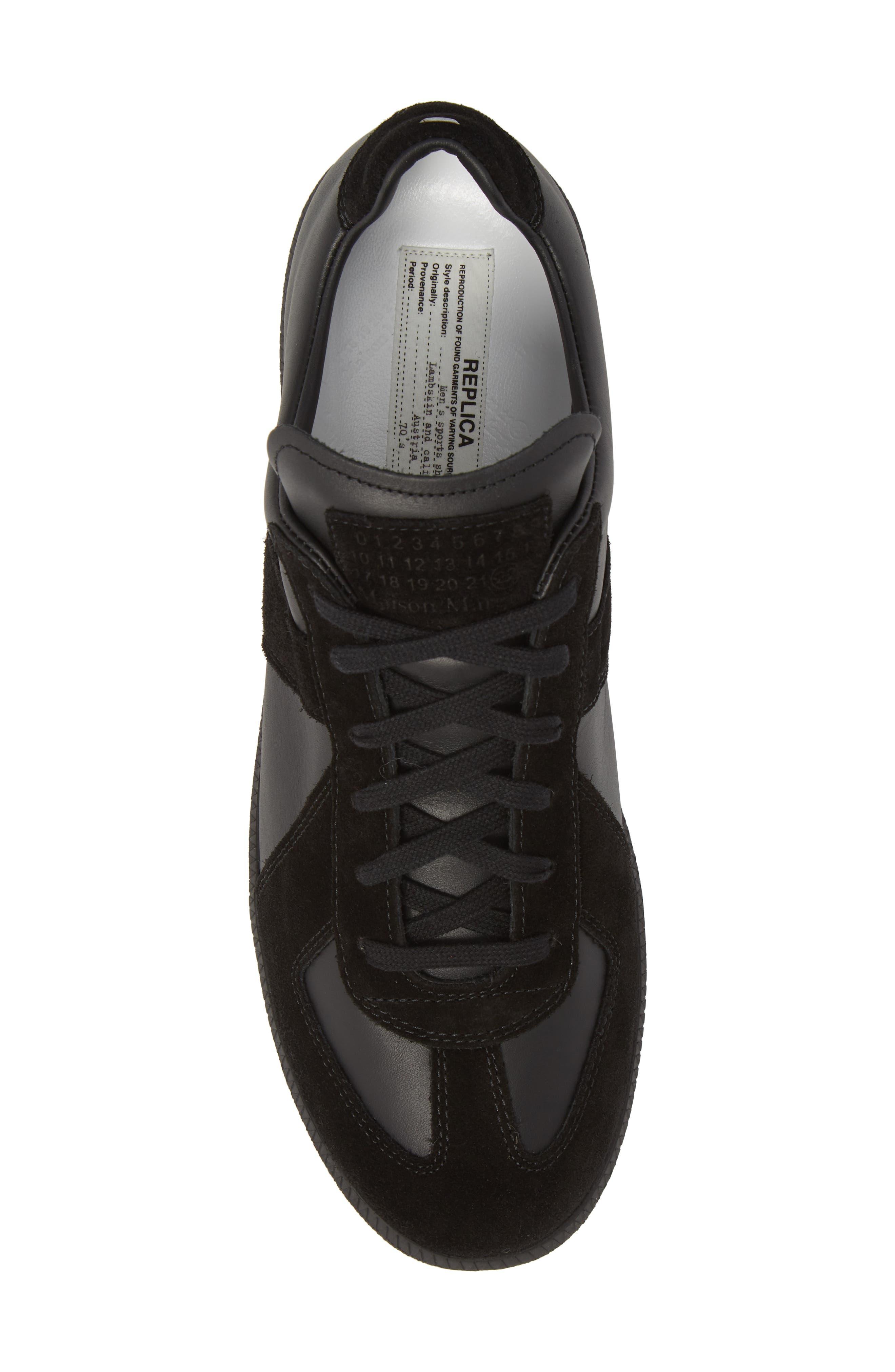 MM6 MAISON MARGIELA, Maison Margiela Replica Low Top Sneaker, Alternate thumbnail 5, color, BLACK