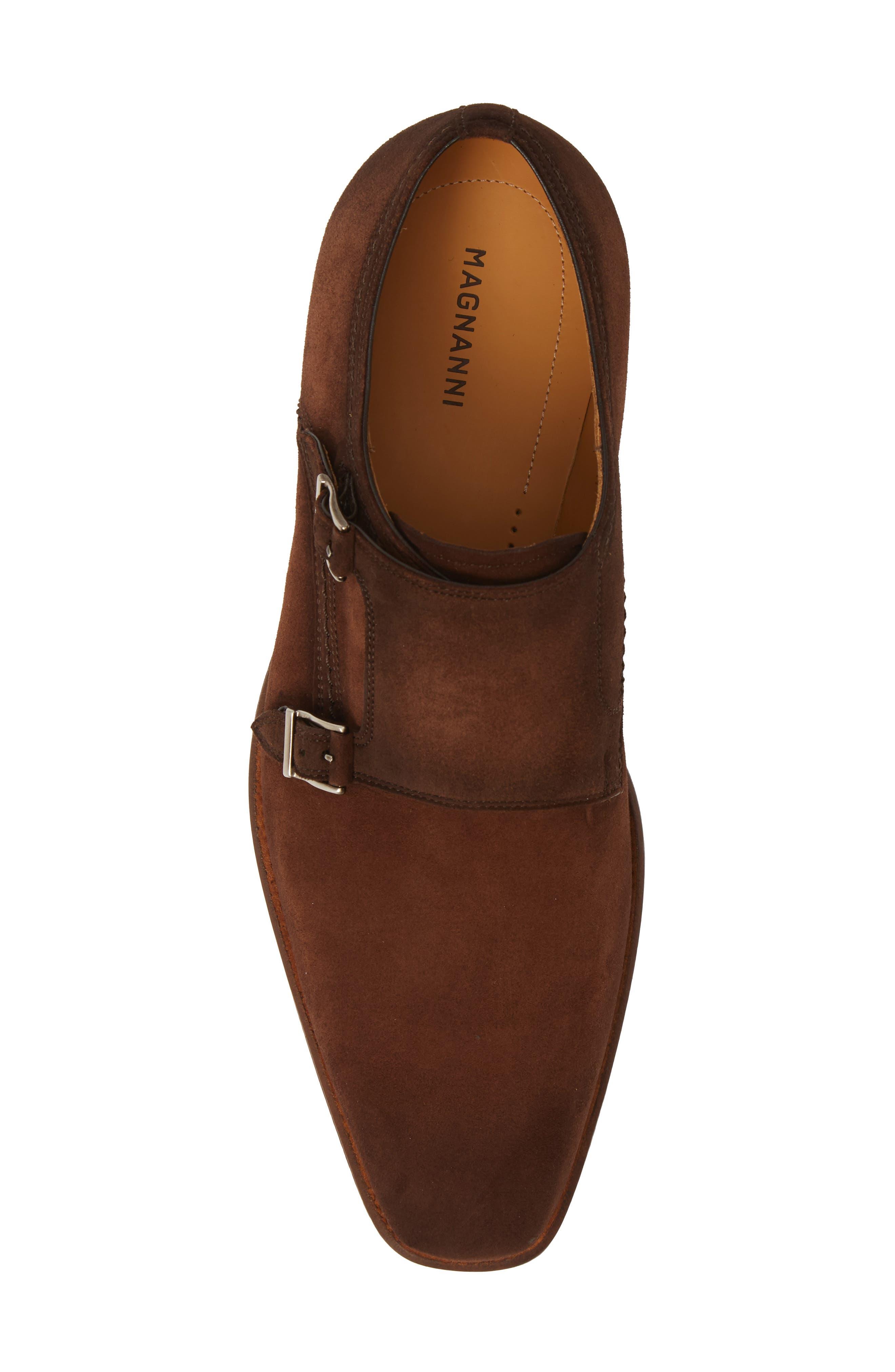 MAGNANNI, Landon Double Strap Monk Shoe, Alternate thumbnail 5, color, MID BROWN