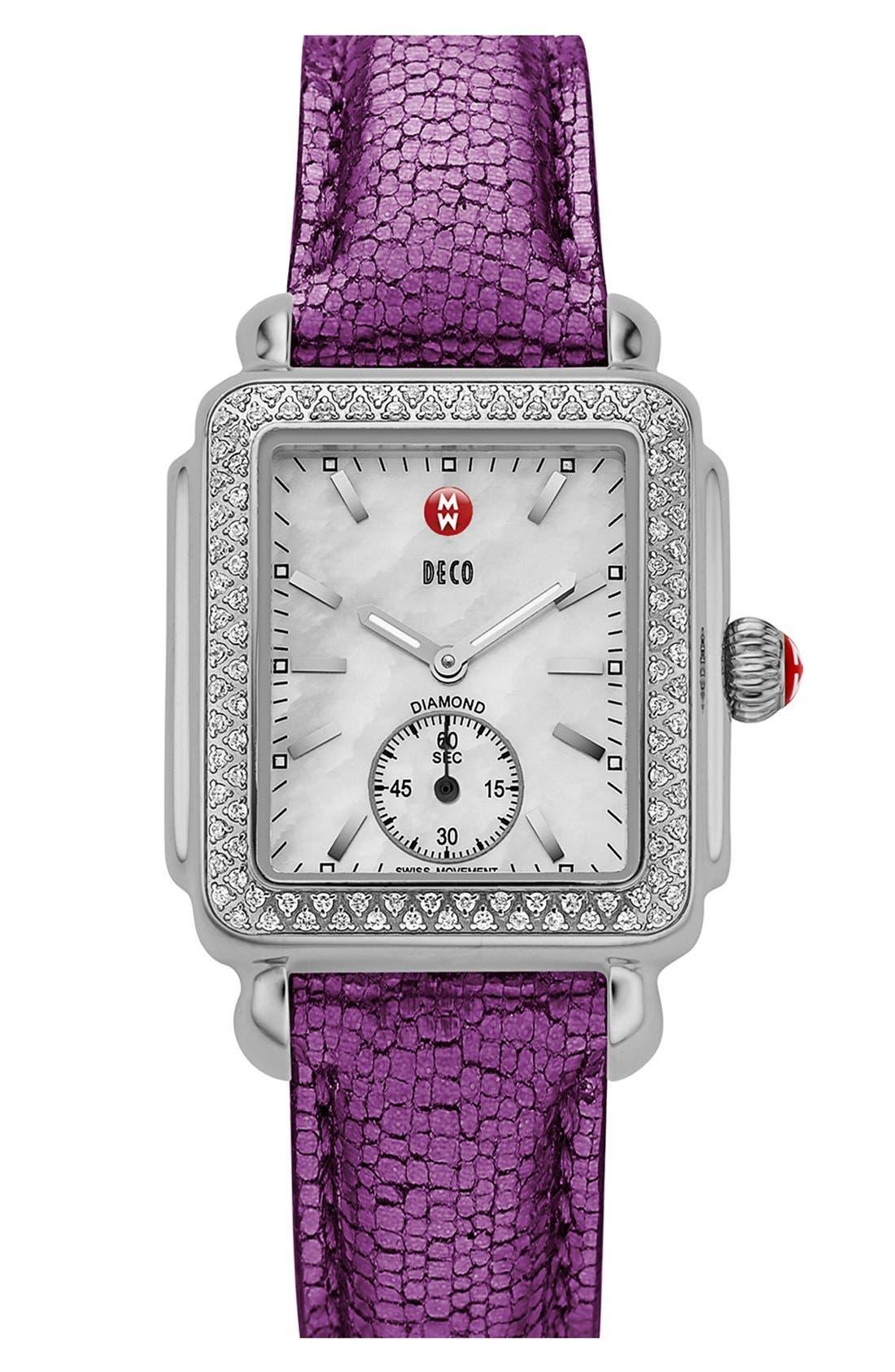MICHELE, Deco 16 Diamond Watch Head, 29mm x 31mm, Alternate thumbnail 6, color, SILVER
