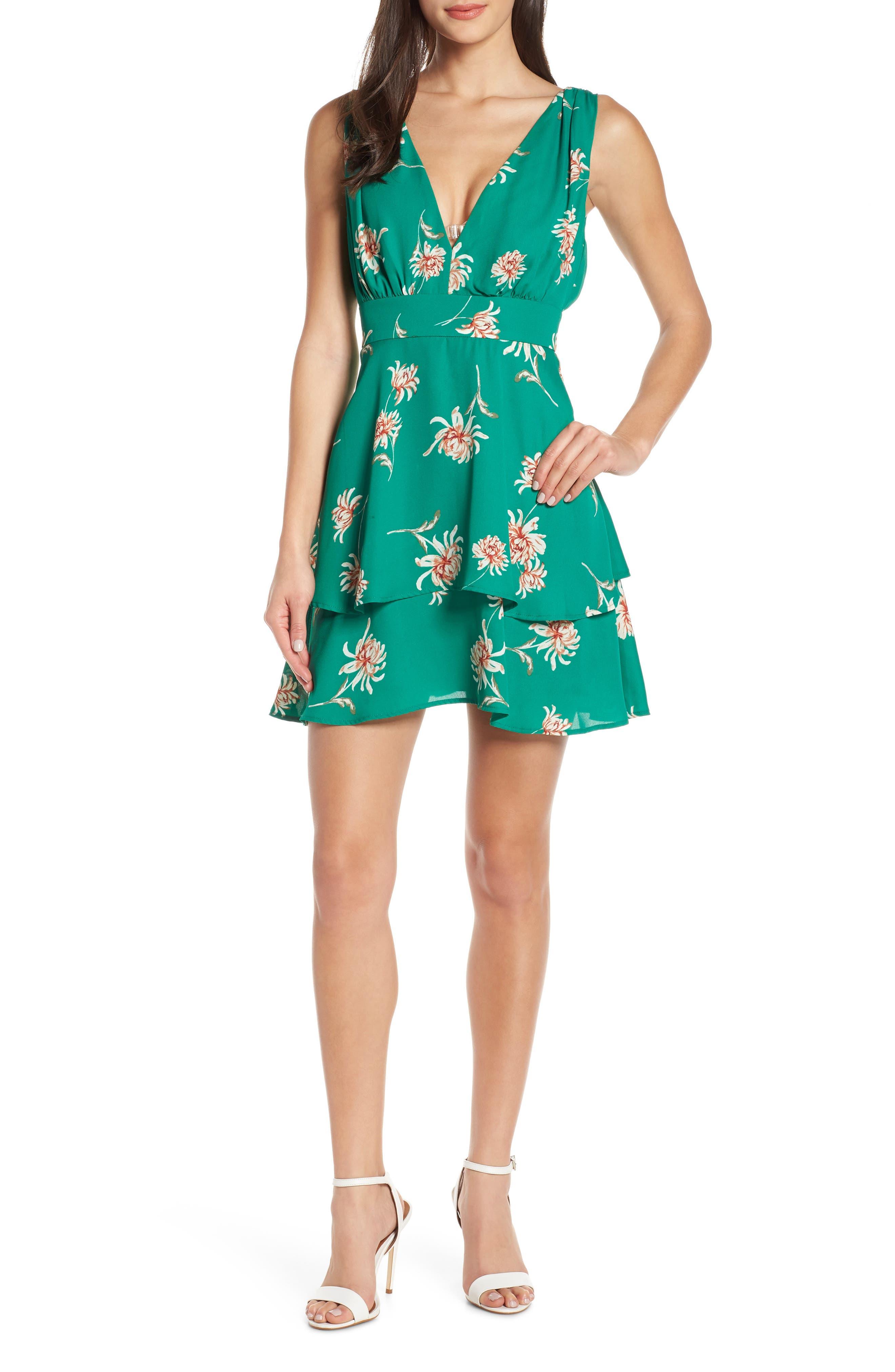 BB DAKOTA, Garden Strolls Blossom Party Minidress, Main thumbnail 1, color, PEPPER GREEN