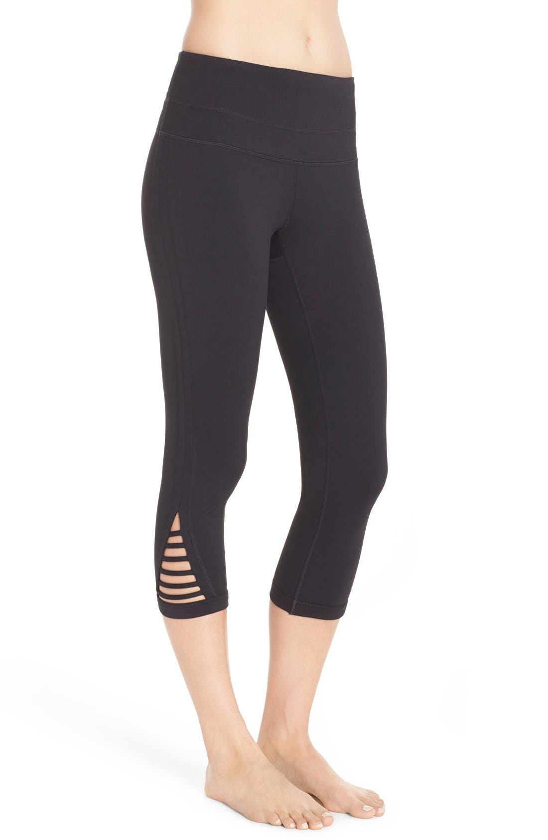 ZELLA, Va-Va High Waist Capris, Alternate thumbnail 4, color, 001