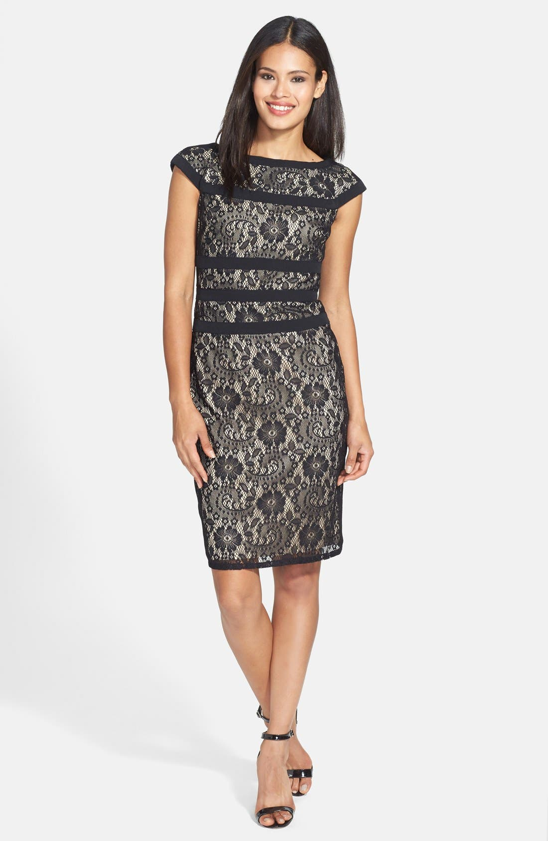 ADRIANNA PAPELL, Lace Sheath Dress, Alternate thumbnail 3, color, 001