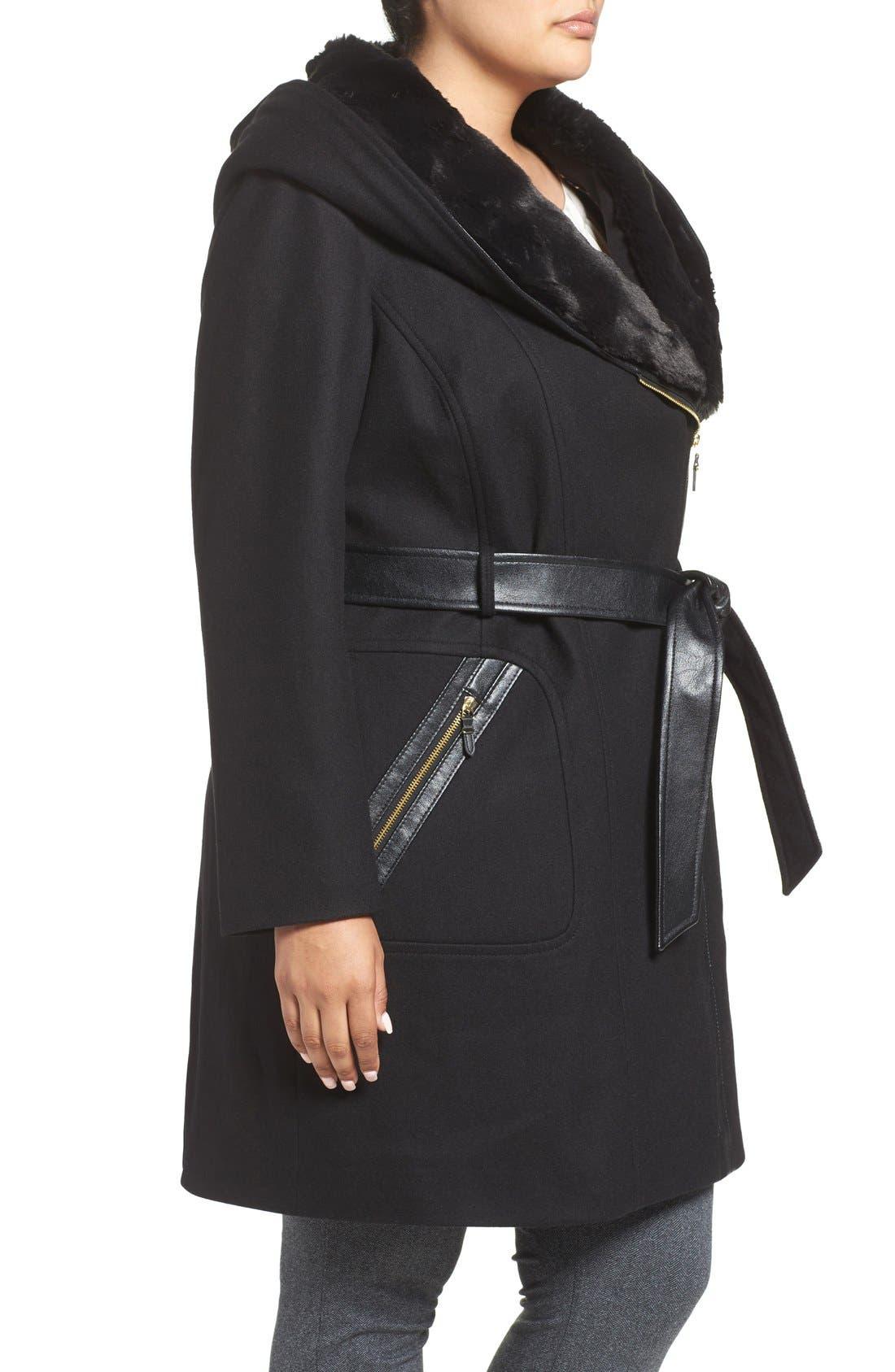 VIA SPIGA, Wool Blend Coat with Faux Fur Trim, Alternate thumbnail 3, color, 001