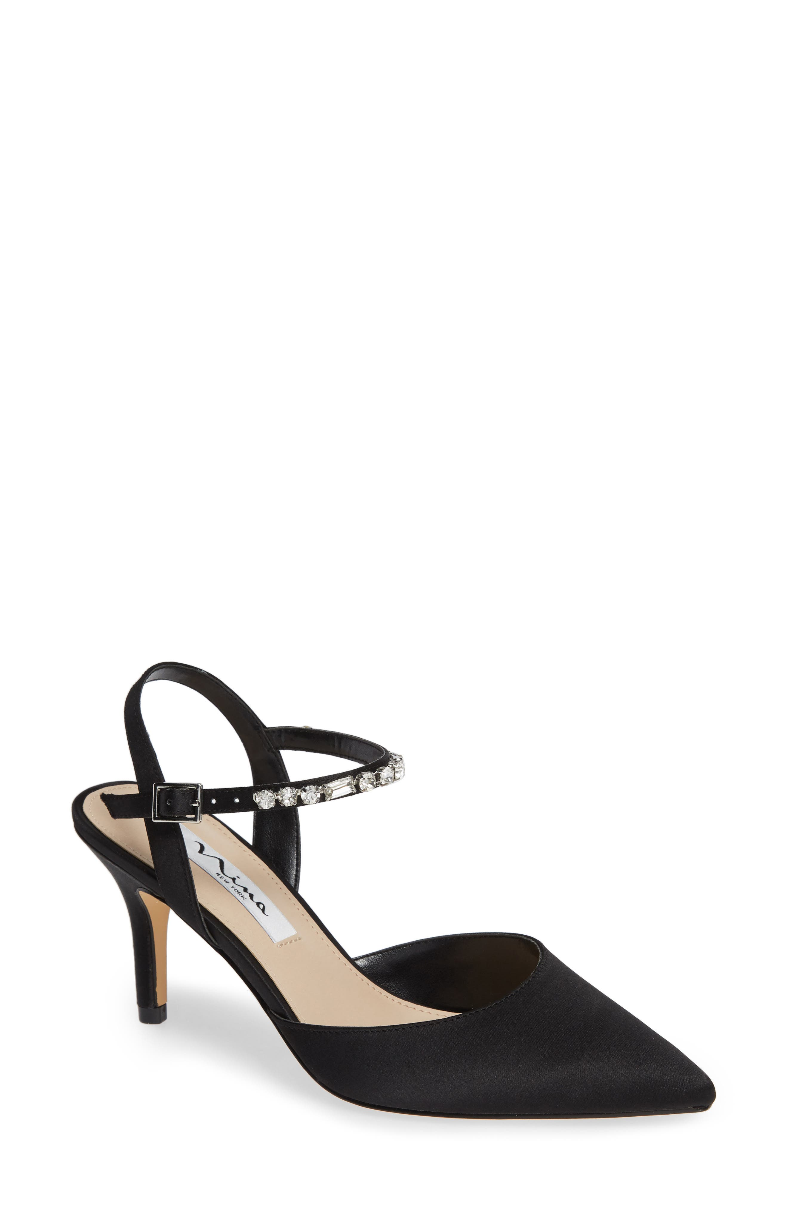 NINA Tonya Pointy Toe Pump, Main, color, BLACK SATIN