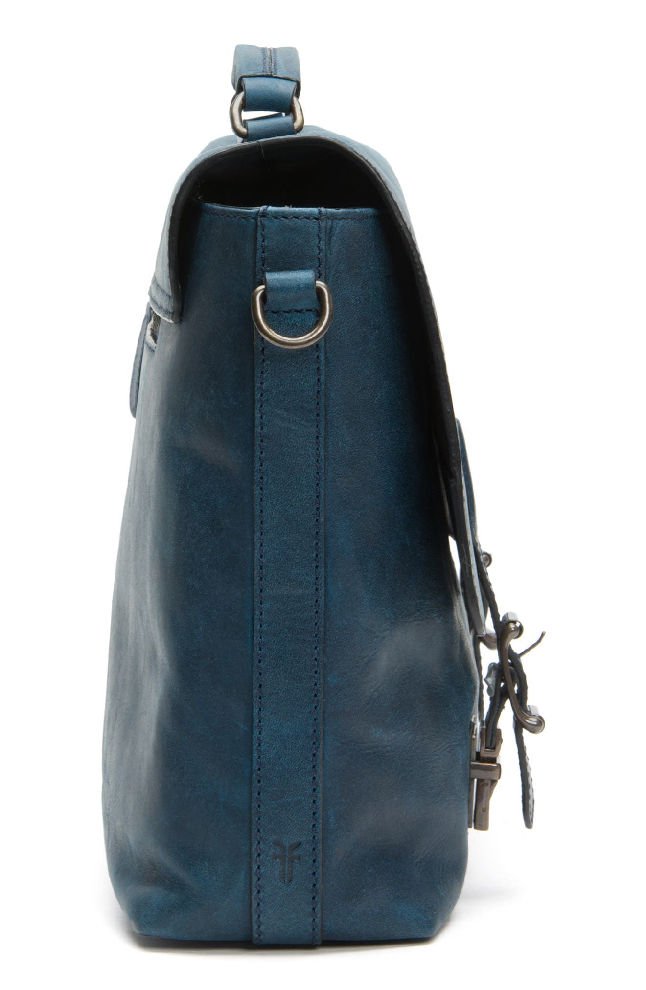 FRYE, Logan Leather Briefcase, Alternate thumbnail 6, color, NAVY