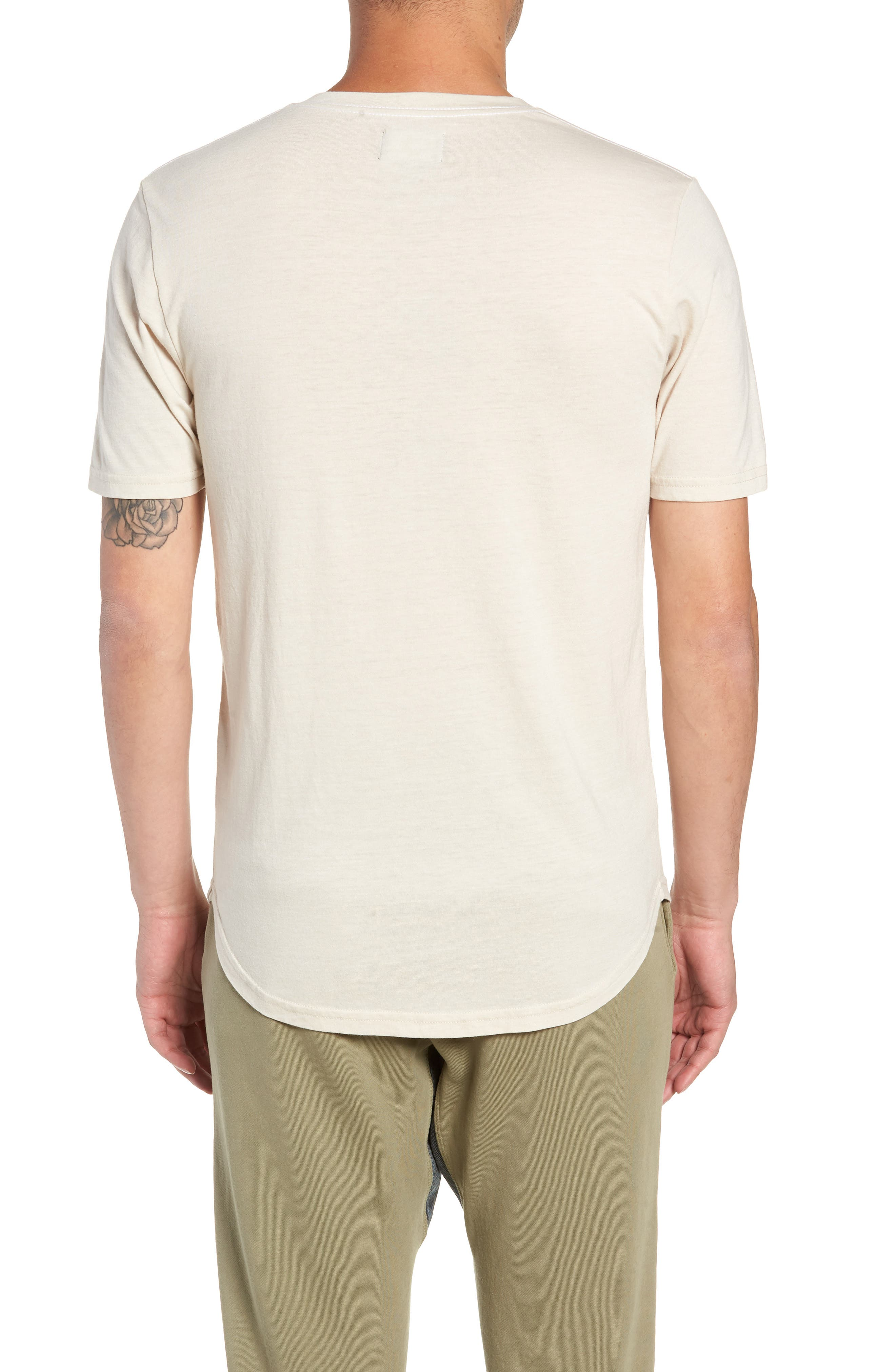 GOODLIFE, Scallop Triblend V-Neck T-Shirt, Alternate thumbnail 2, color, OYSTER