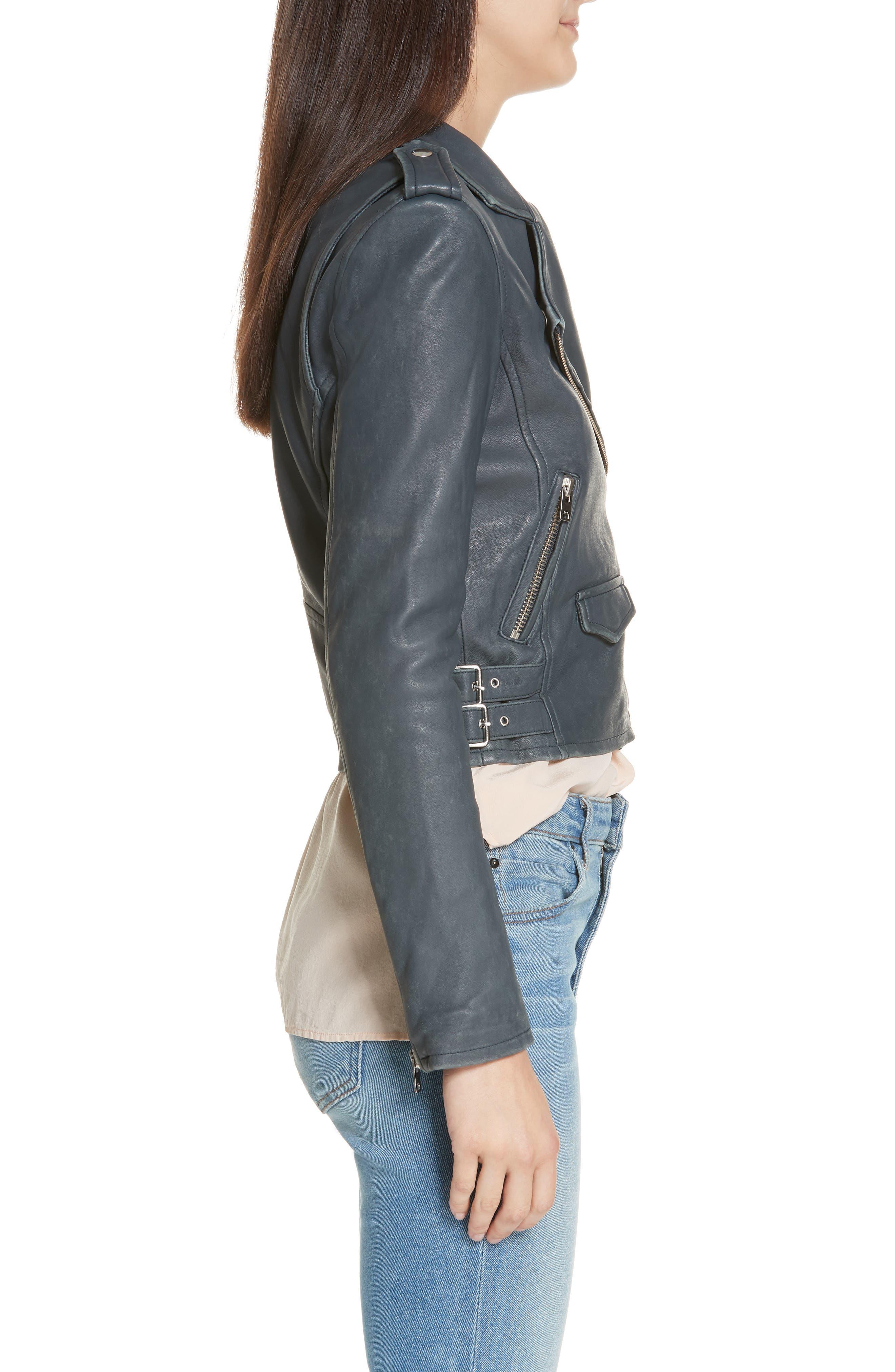IRO, 'Ashville' Leather Jacket, Alternate thumbnail 4, color, GREY DENIM