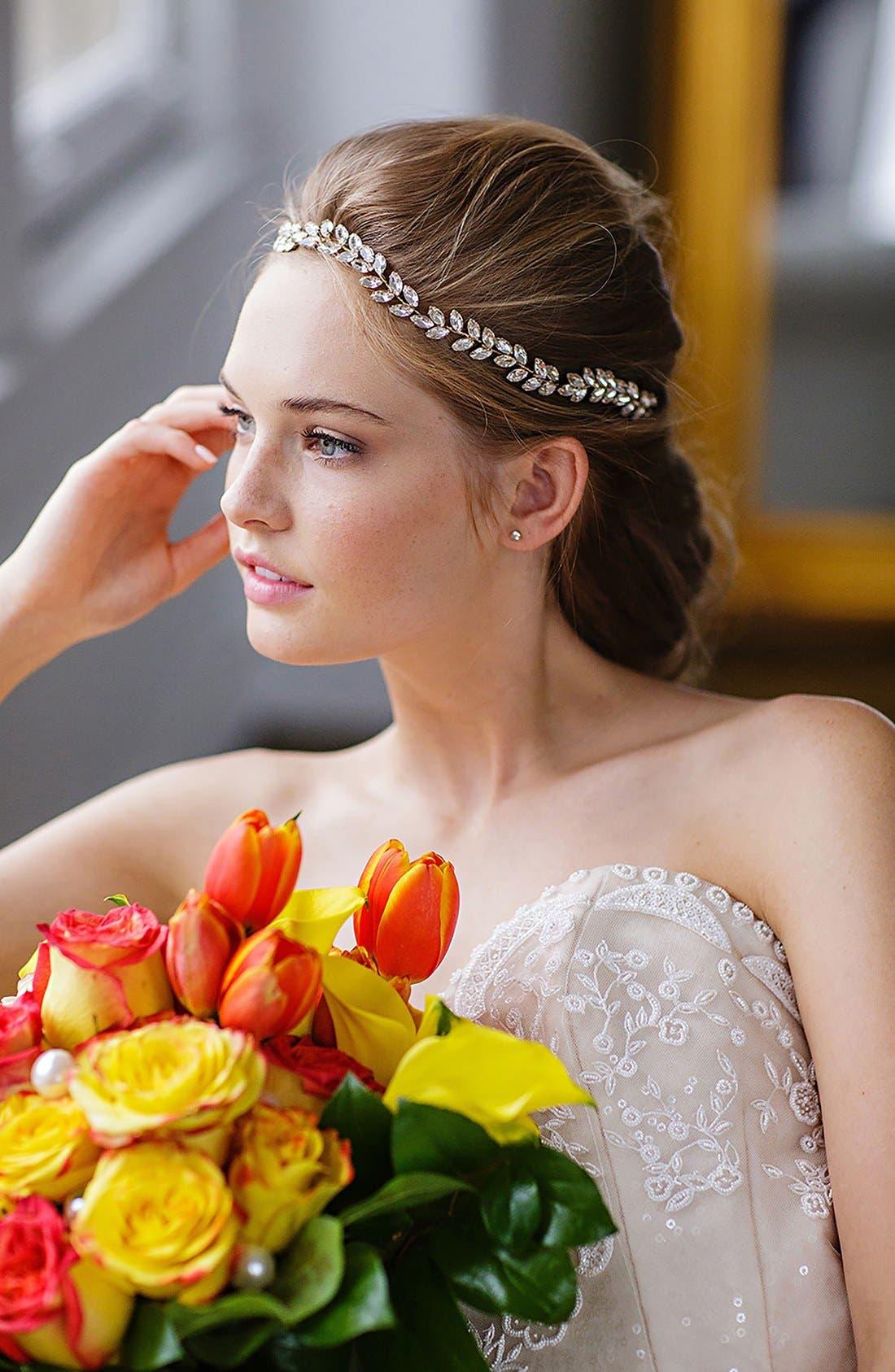 BRIDES & HAIRPINS, Alegra Crystal Leaf Halo & Sash, Alternate thumbnail 4, color, ANTIQUE