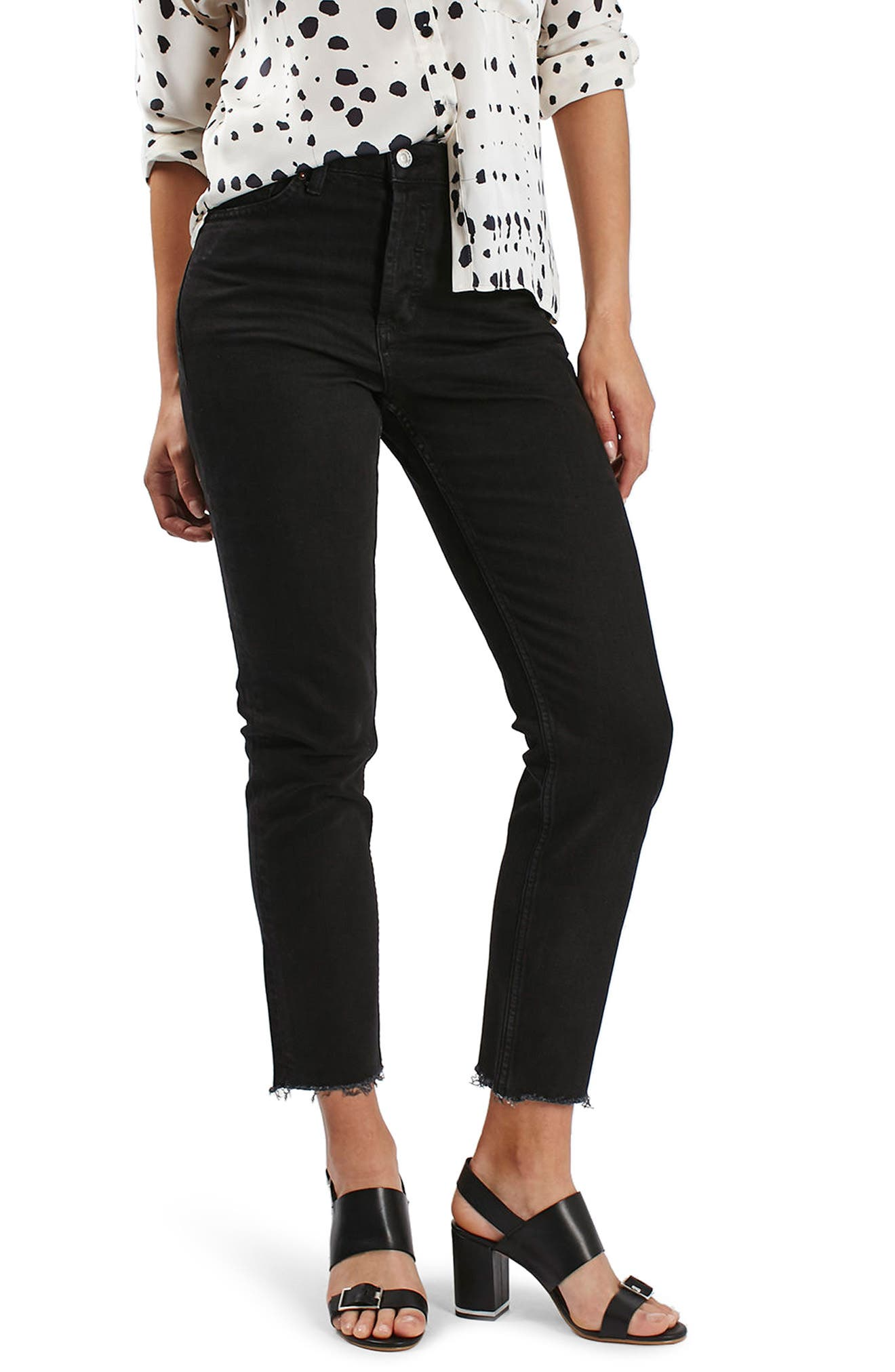 TOPSHOP Raw Hem Straight Leg Jeans, Main, color, WASHED BLACK