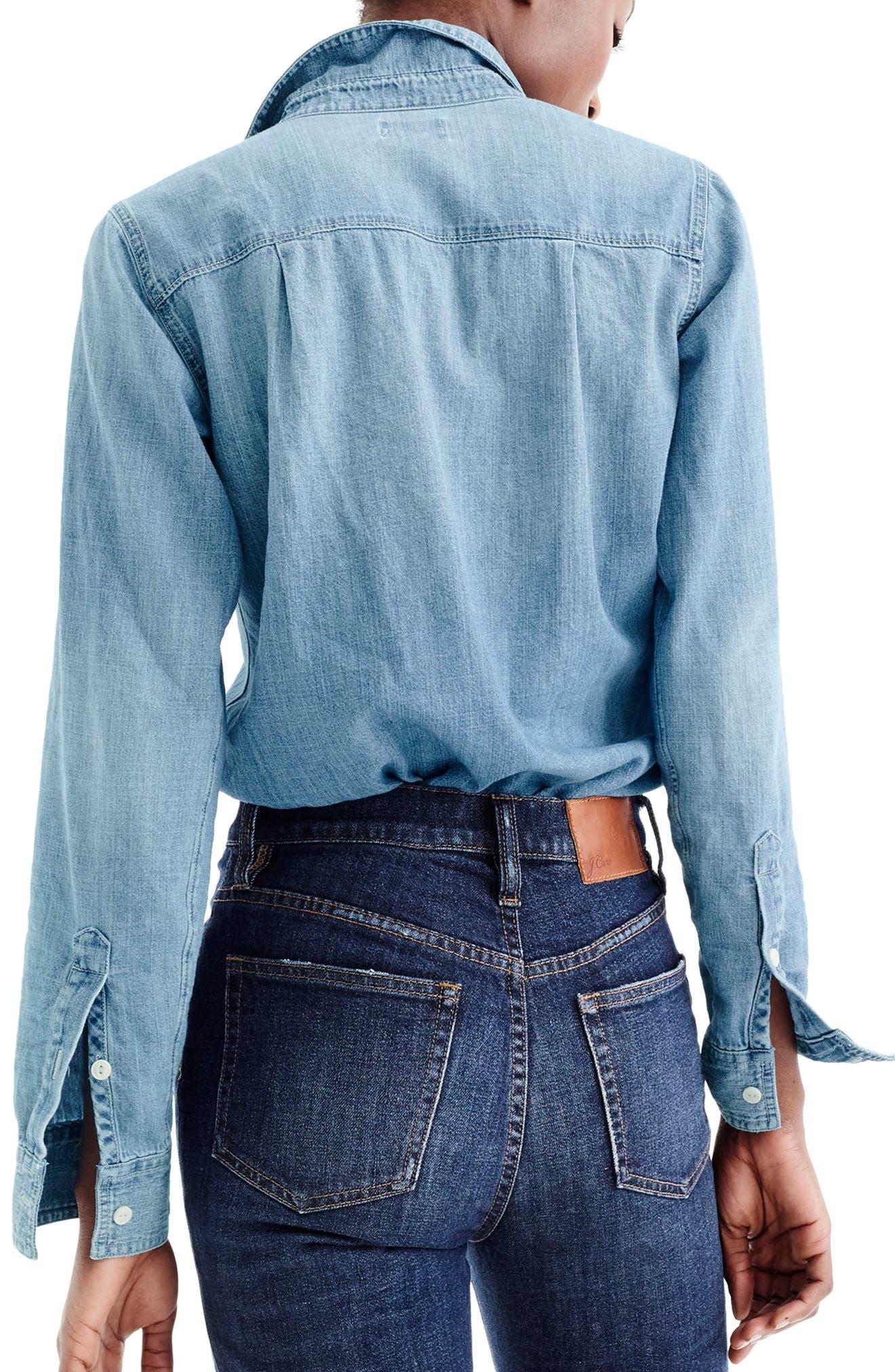 J.CREW, Everyday Chambray Shirt, Alternate thumbnail 2, color, MADERA WASH