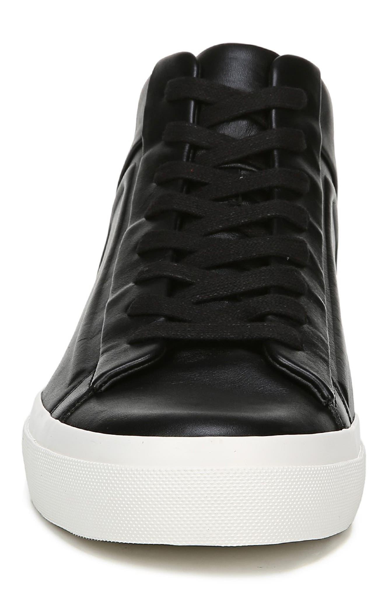 VINCE, Fynn High Top Sneaker, Alternate thumbnail 4, color, BLACK