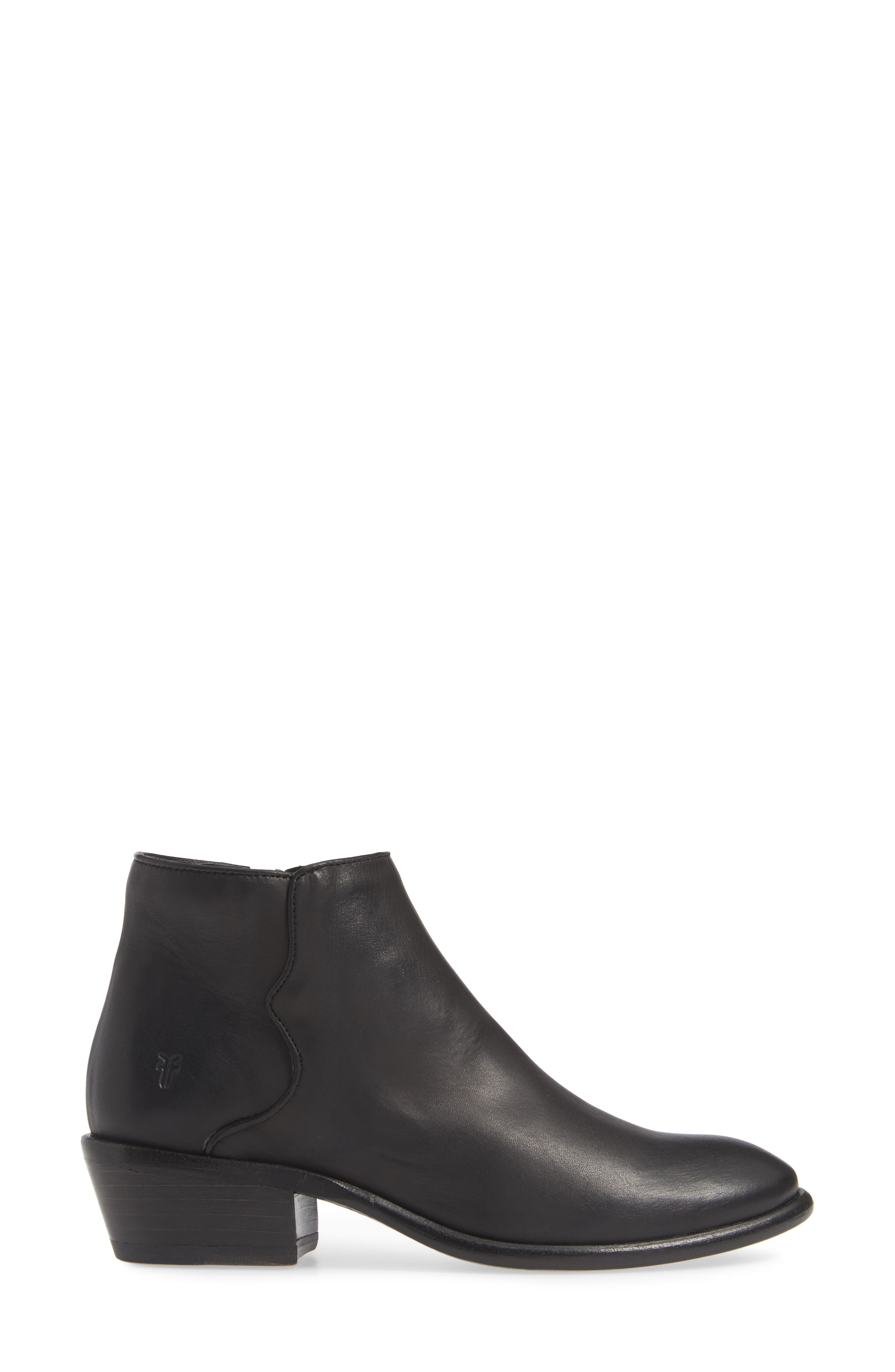 FRYE, Carson Piping Bootie, Alternate thumbnail 3, color, BLACK
