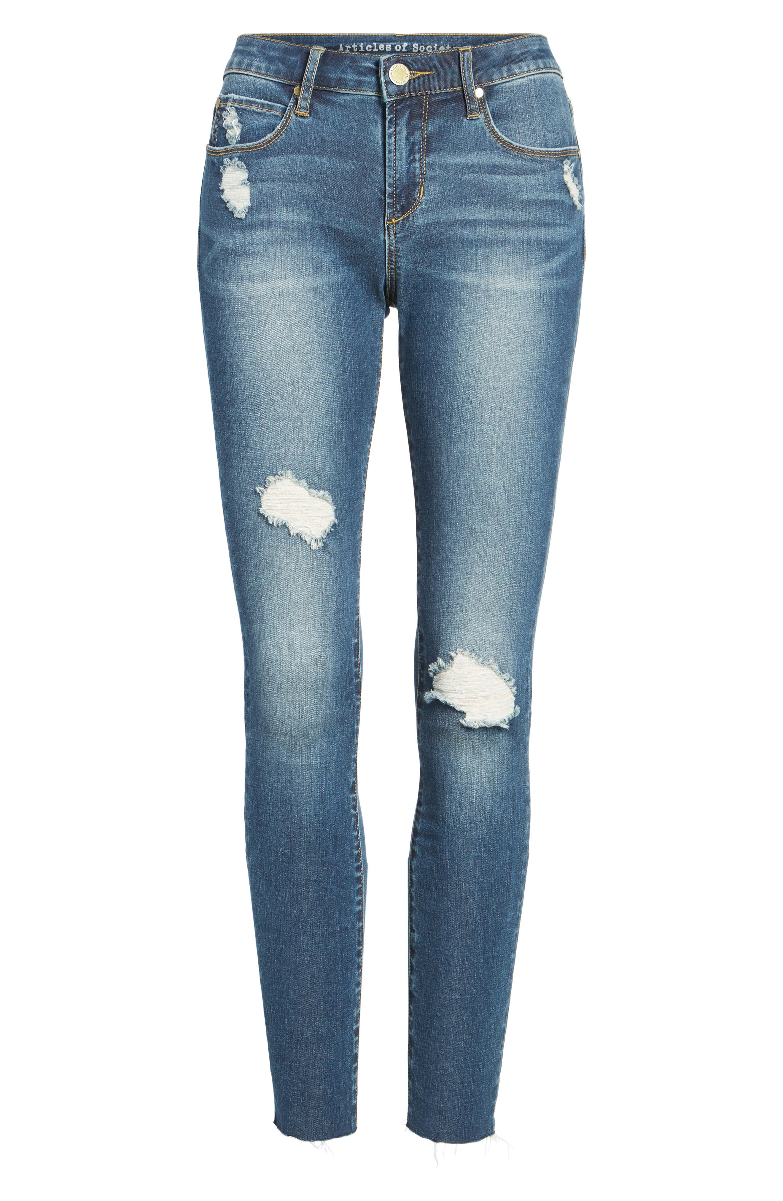 ARTICLES OF SOCIETY, Sarah Skinny Jeans, Alternate thumbnail 7, color, PRARIE