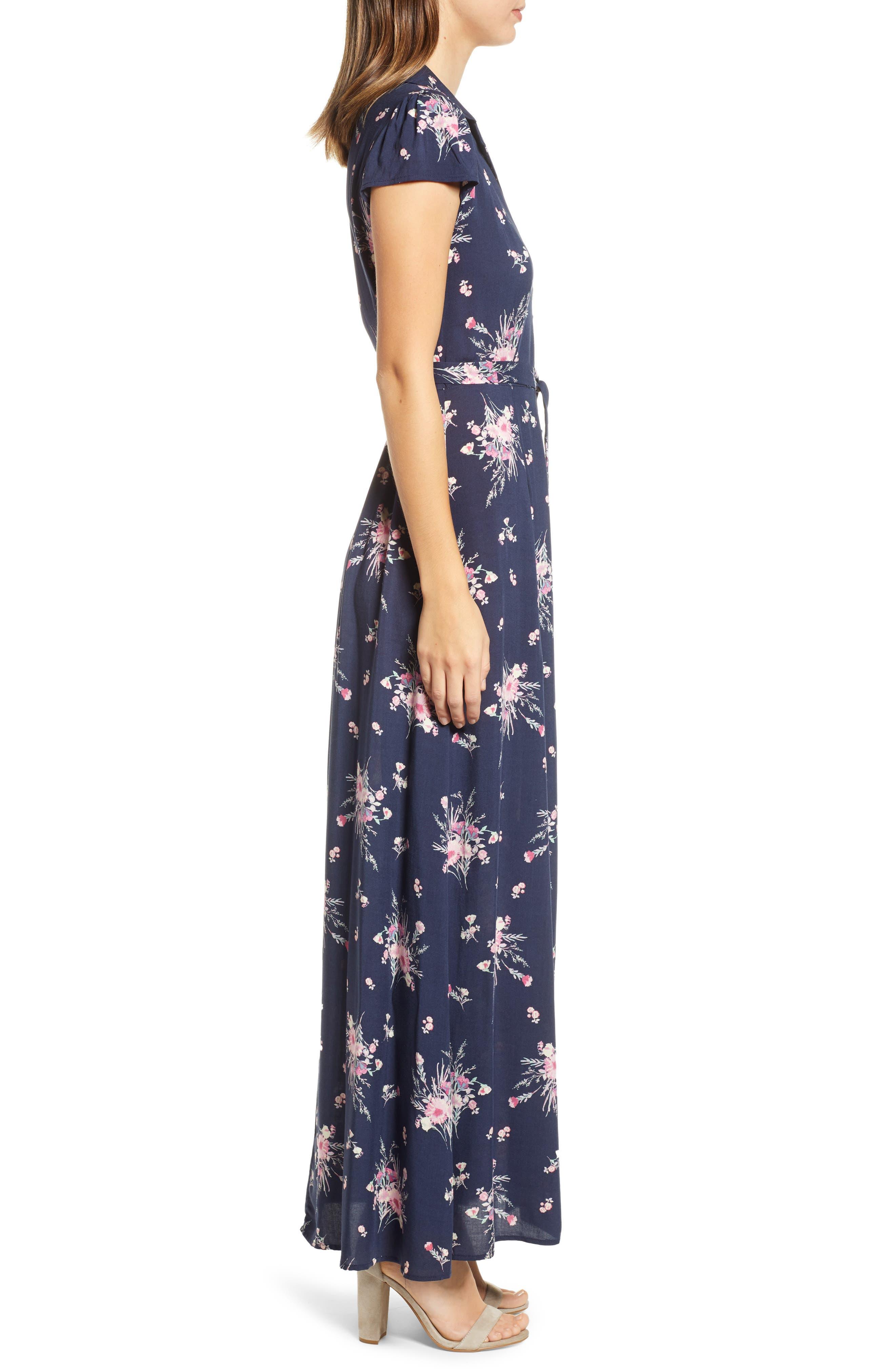 ROW A, Floral Print Maxi Dress, Alternate thumbnail 4, color, NAVY FLORAL