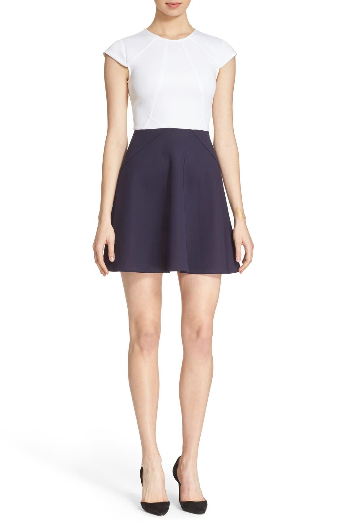 TED BAKER LONDON, 'AABRR' Colorblock Cap Sleeve Skater Dress, Main thumbnail 1, color, 402
