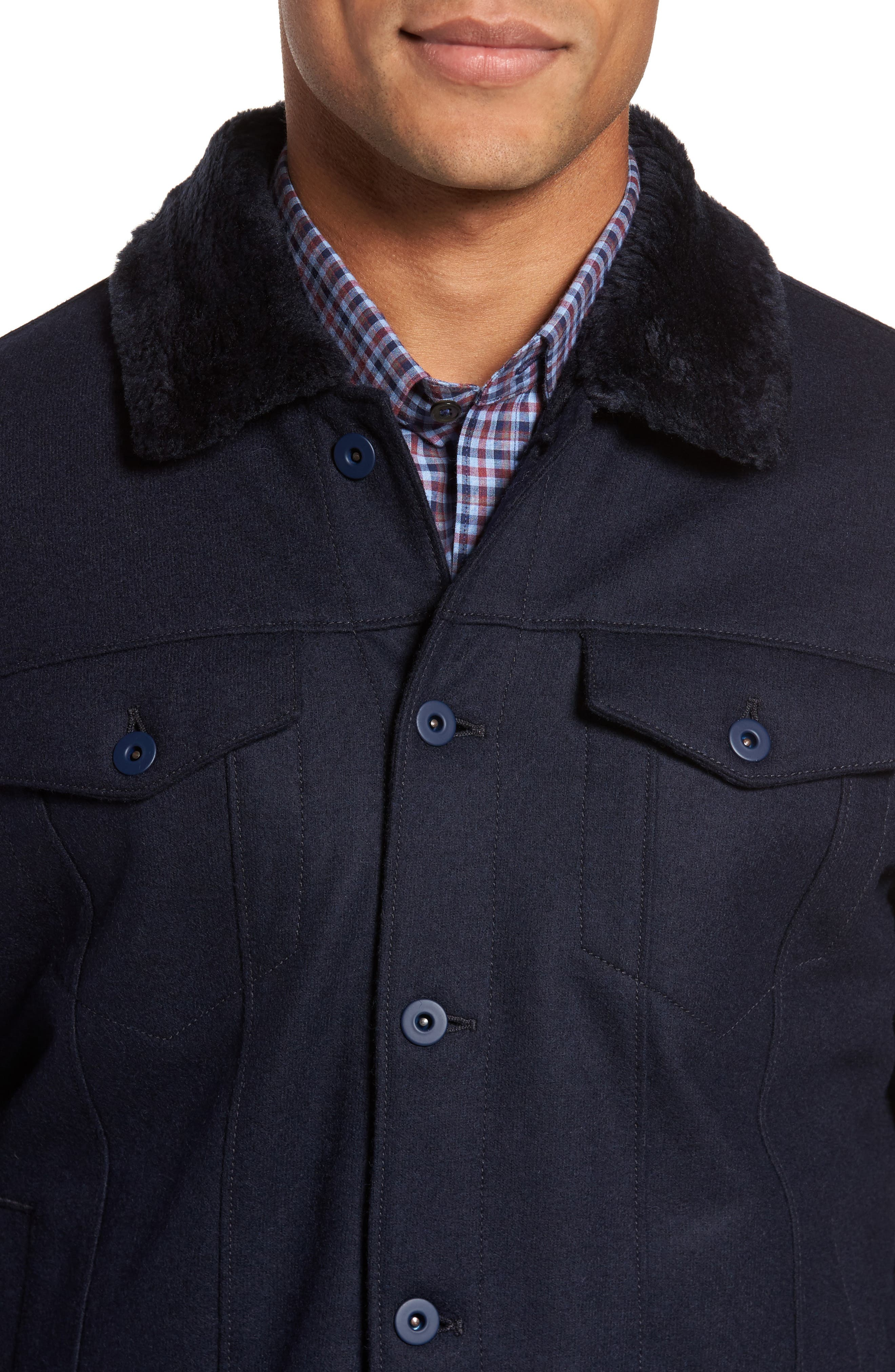 ZACHARY PRELL, Faux Fur Trim Jacket, Alternate thumbnail 4, color, NAVY
