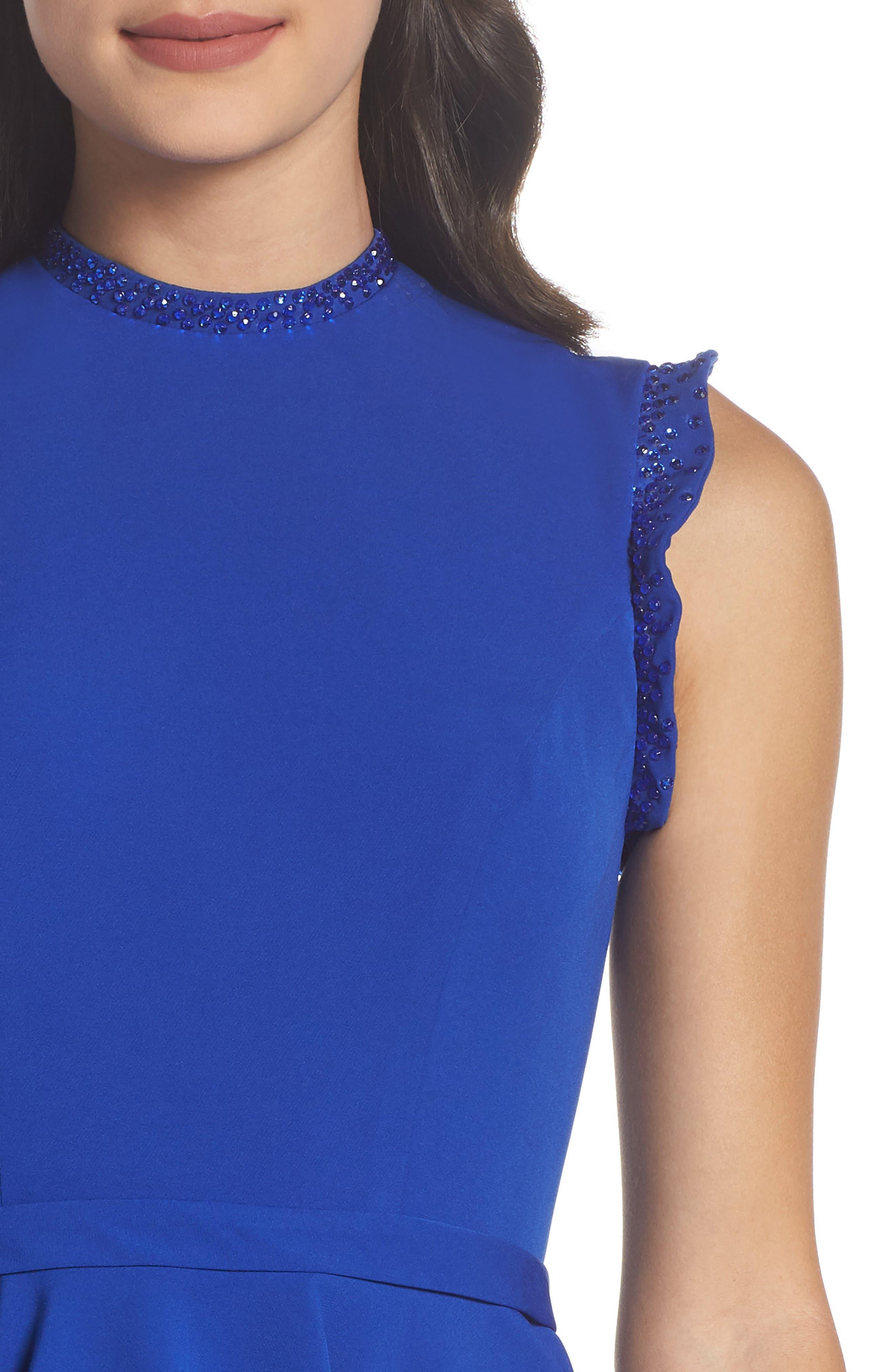 IEENA FOR MAC DUGGAL, Mac Duggal Embellished Ruffle Fit & Flare Dress, Alternate thumbnail 5, color, ROYAL