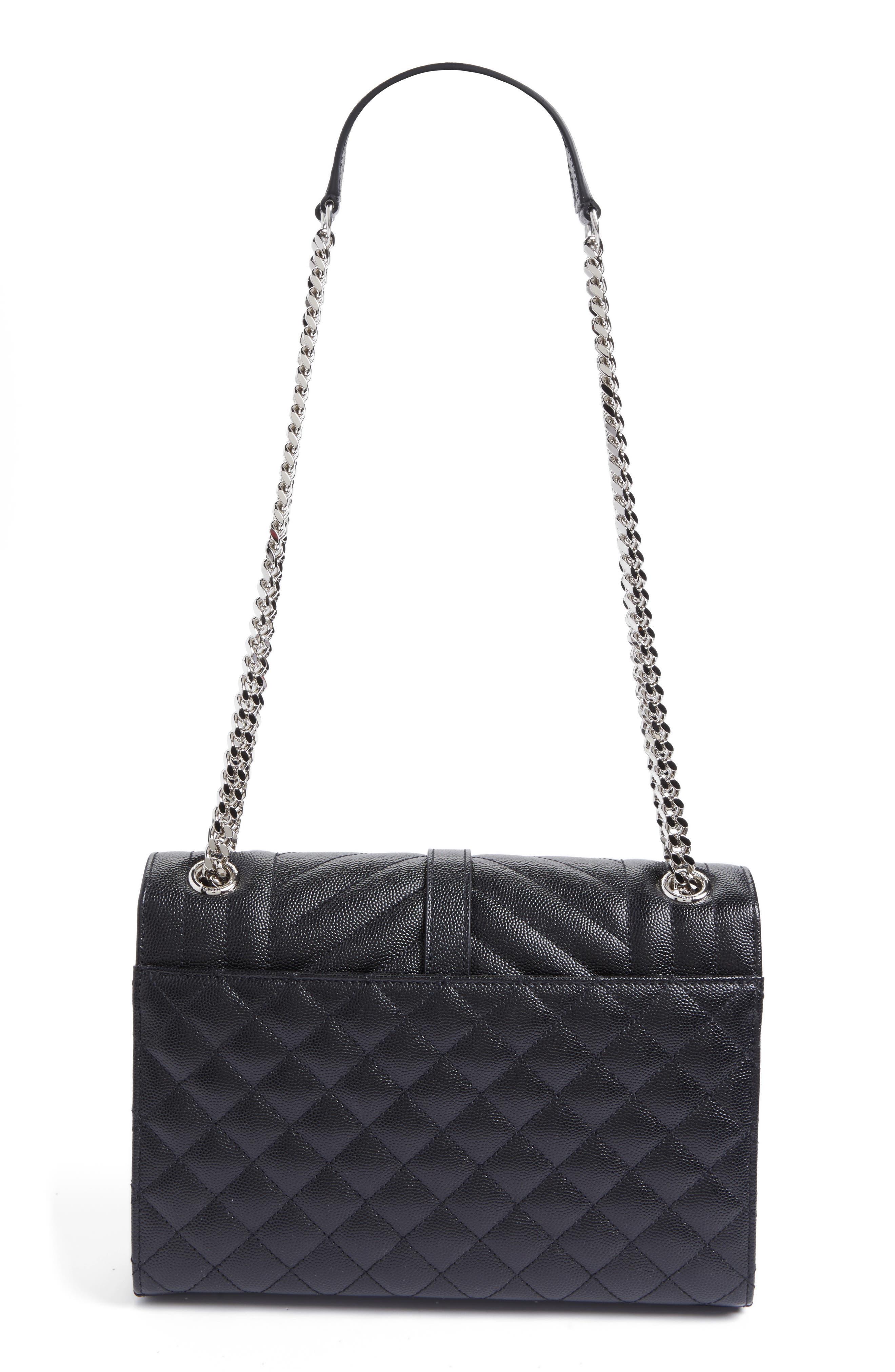 SAINT LAURENT, Large Monogram Quilted Leather Shoulder Bag, Alternate thumbnail 2, color, NERO