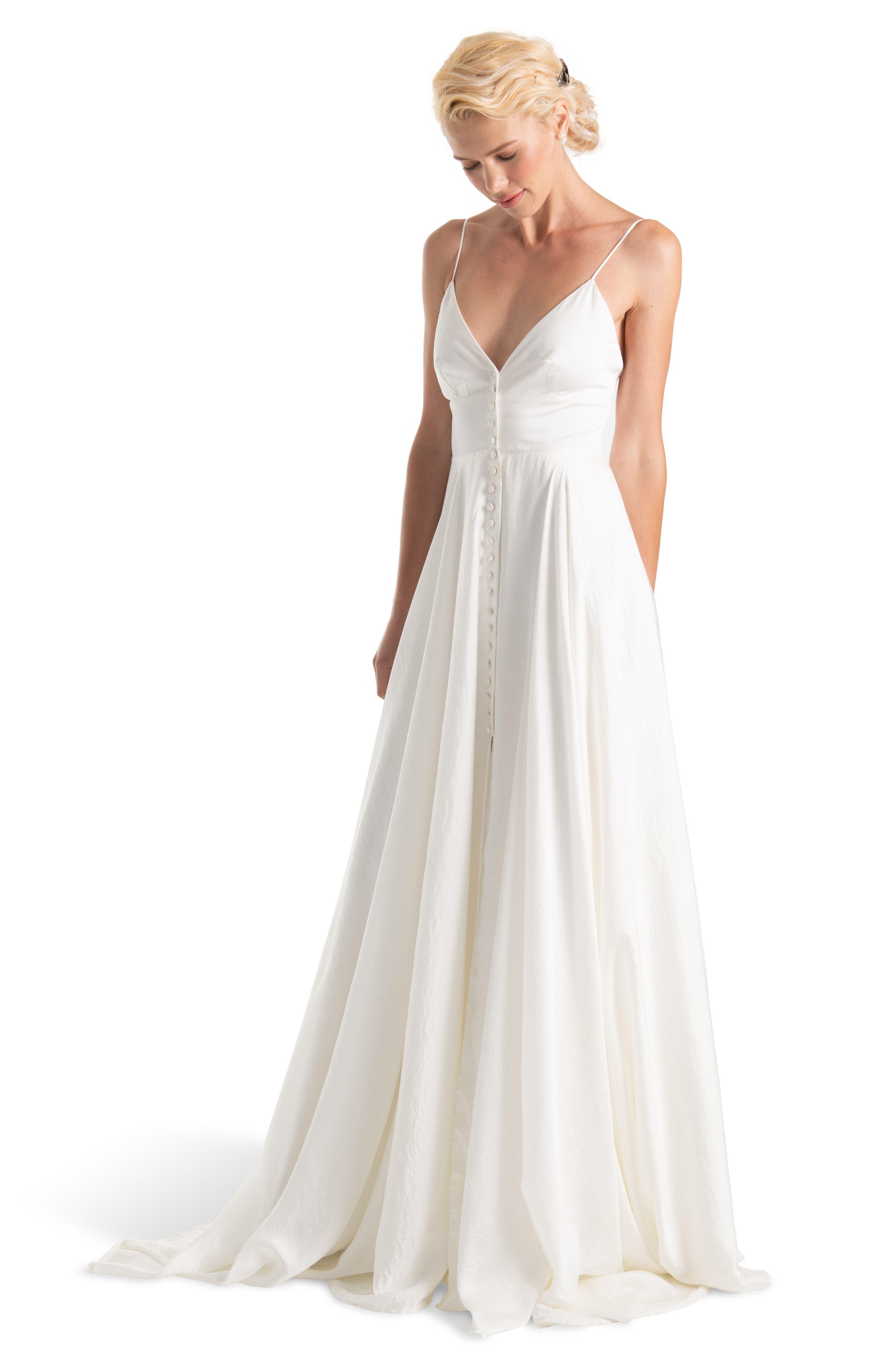 JOANNA AUGUST, Nancy V-Neck Crepe Wedding Dress, Alternate thumbnail 5, color, WHITE