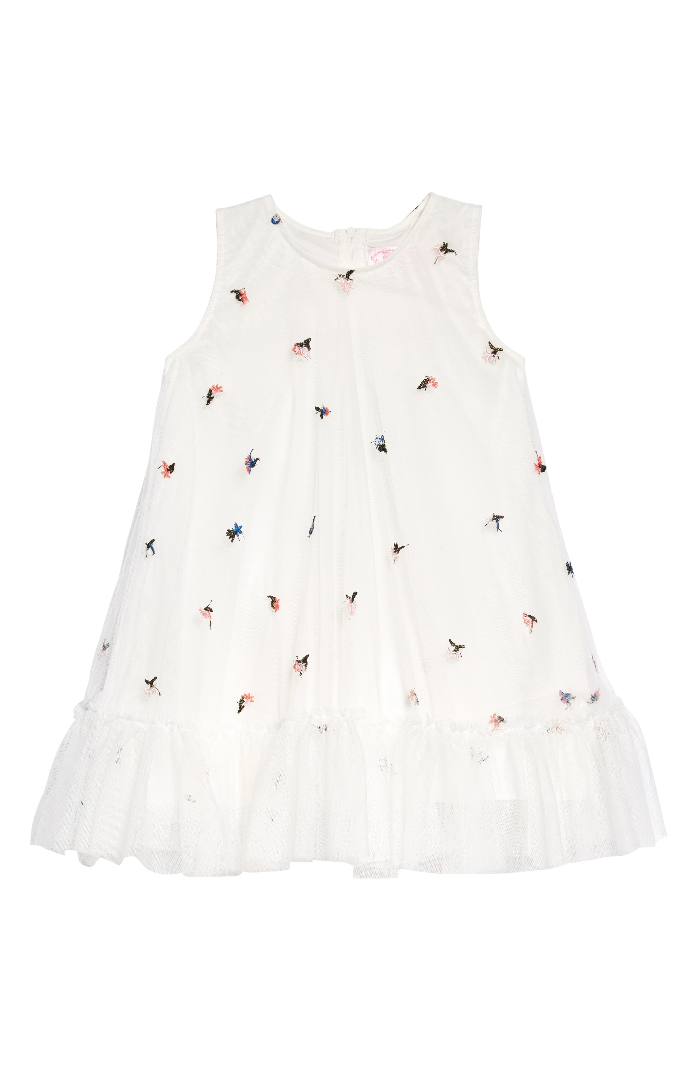 POPATU Floral Embroidered Tulle Dress, Main, color, WHITE