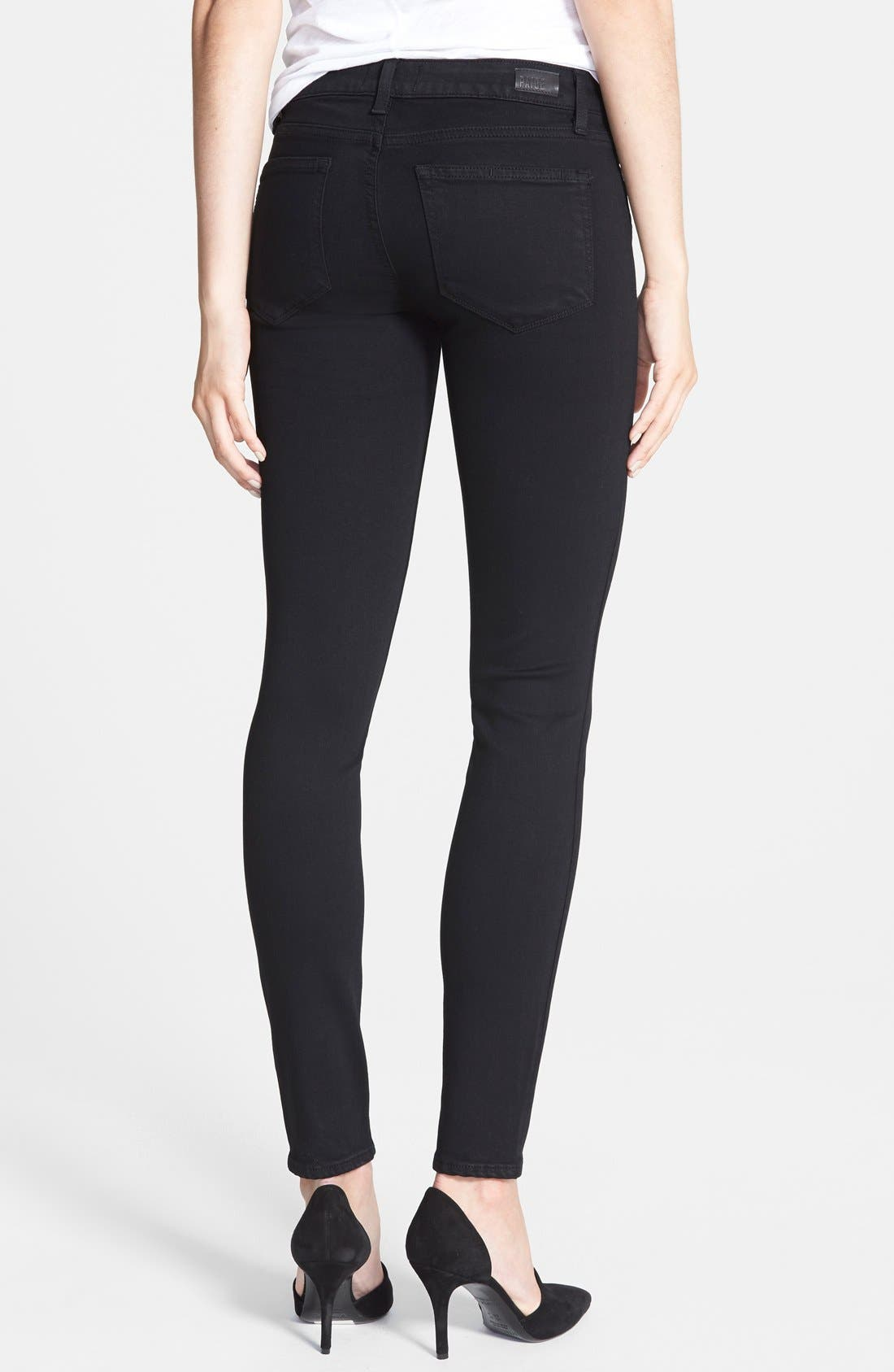 PAIGE, Transcend - Verdugo Ultra Skinny Jeans, Alternate thumbnail 8, color, BLACK SHADOW