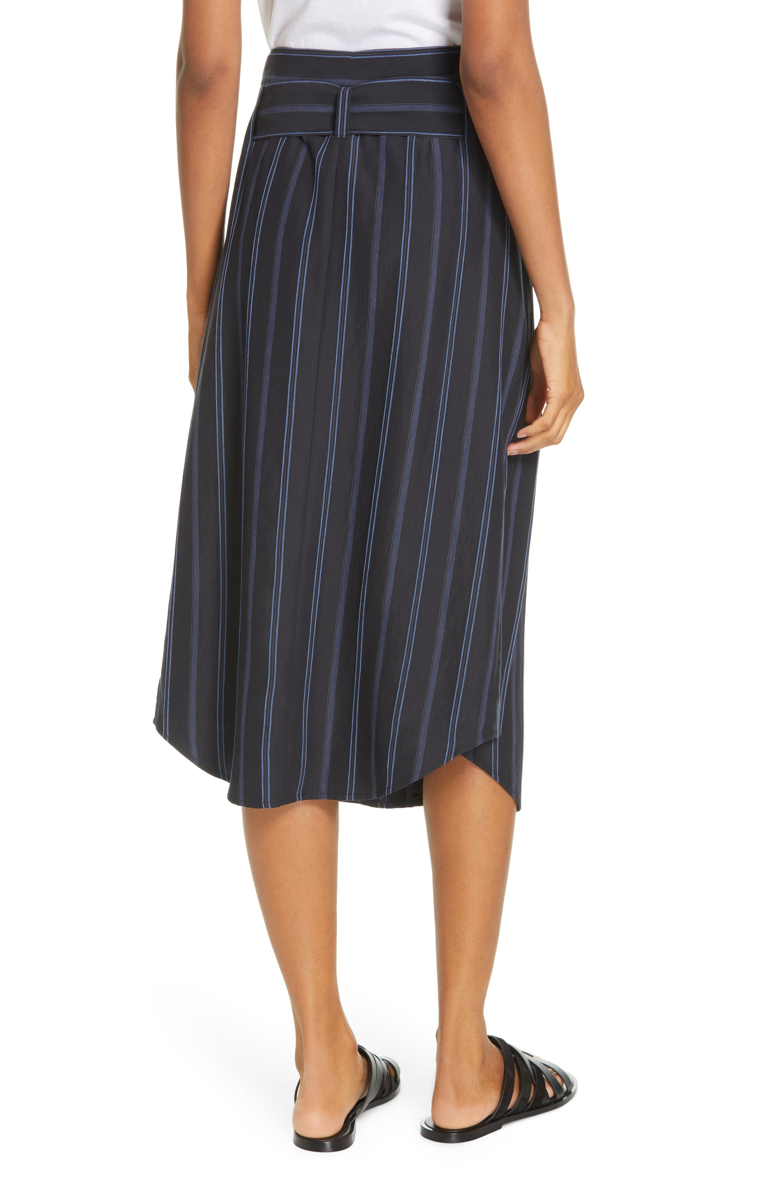 VINCE, Dobby Stripe Belted Skirt, Alternate thumbnail 2, color, INDIGO