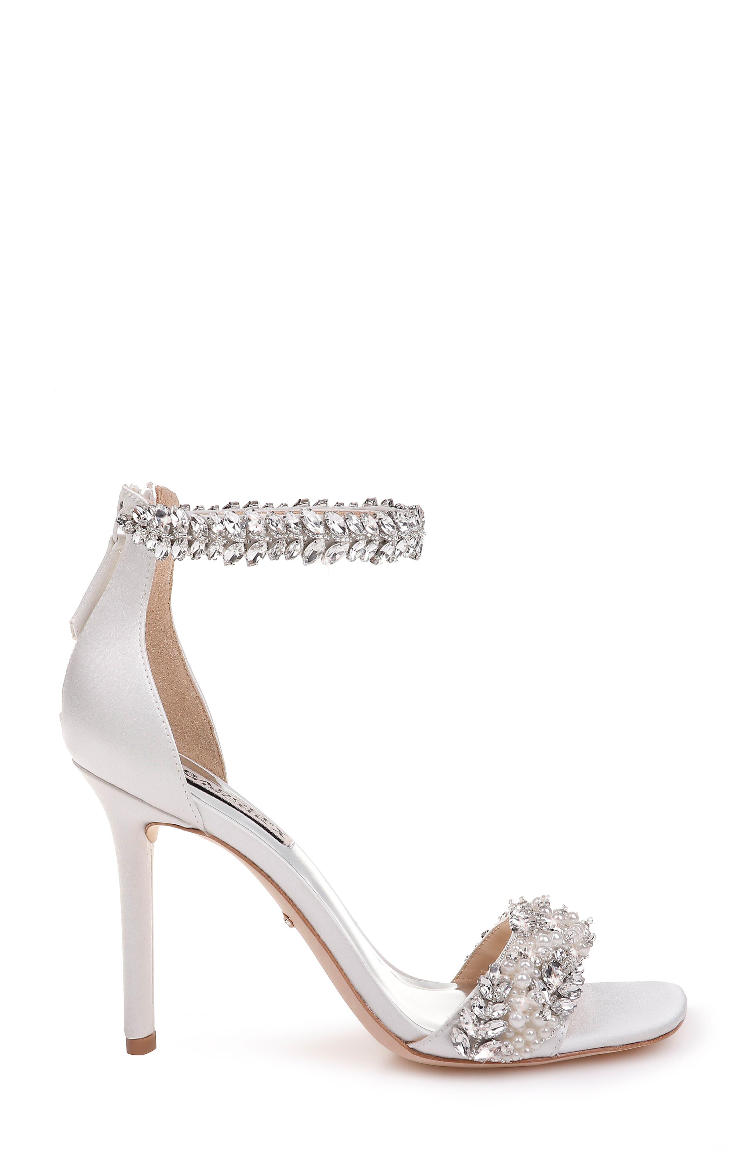 BADGLEY MISCHKA COLLECTION, Badgley Mischka Fiorenza Crystal & Imitation Pearl Embellished Sandal, Alternate thumbnail 3, color, SOFT WHITE SATIN