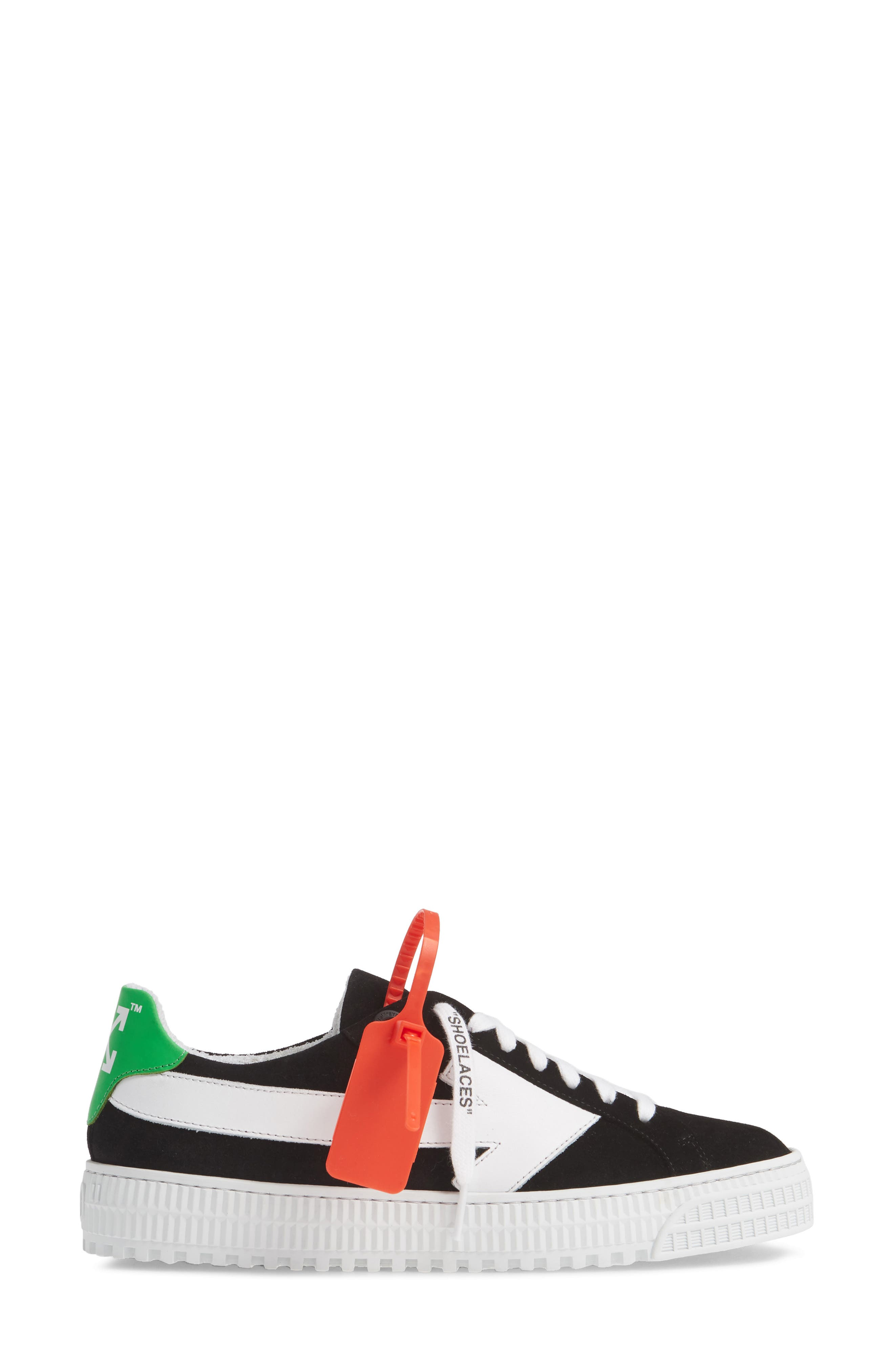 OFF-WHITE, Arrow Sneaker, Alternate thumbnail 3, color, BLACK WHITE