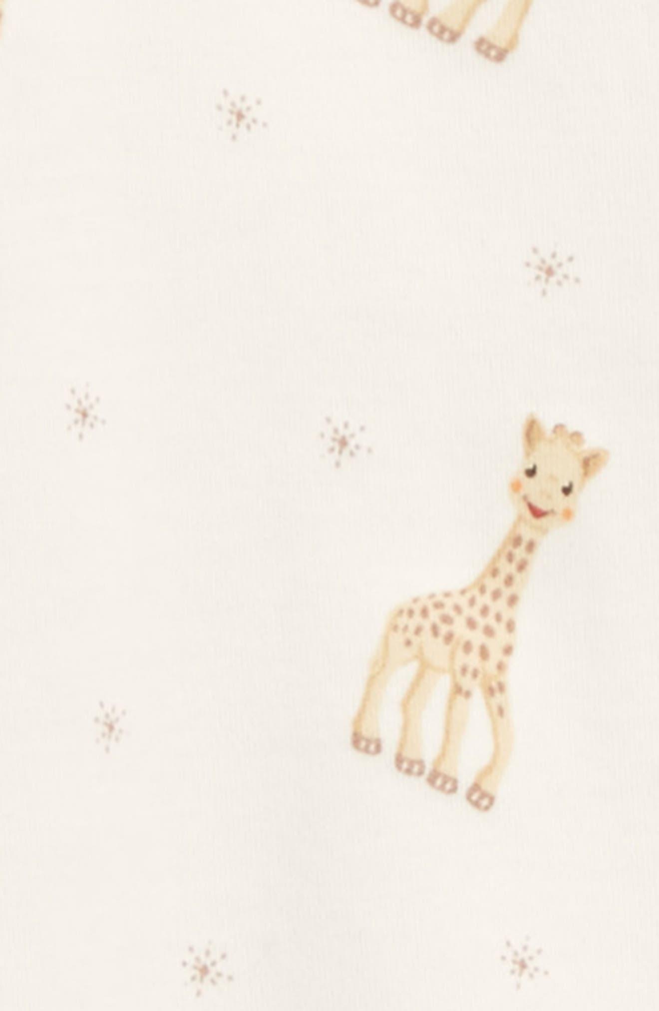 KISSY KISSY, x Sophie la Girafe Print Footie, Alternate thumbnail 2, color, ECRU PRINT