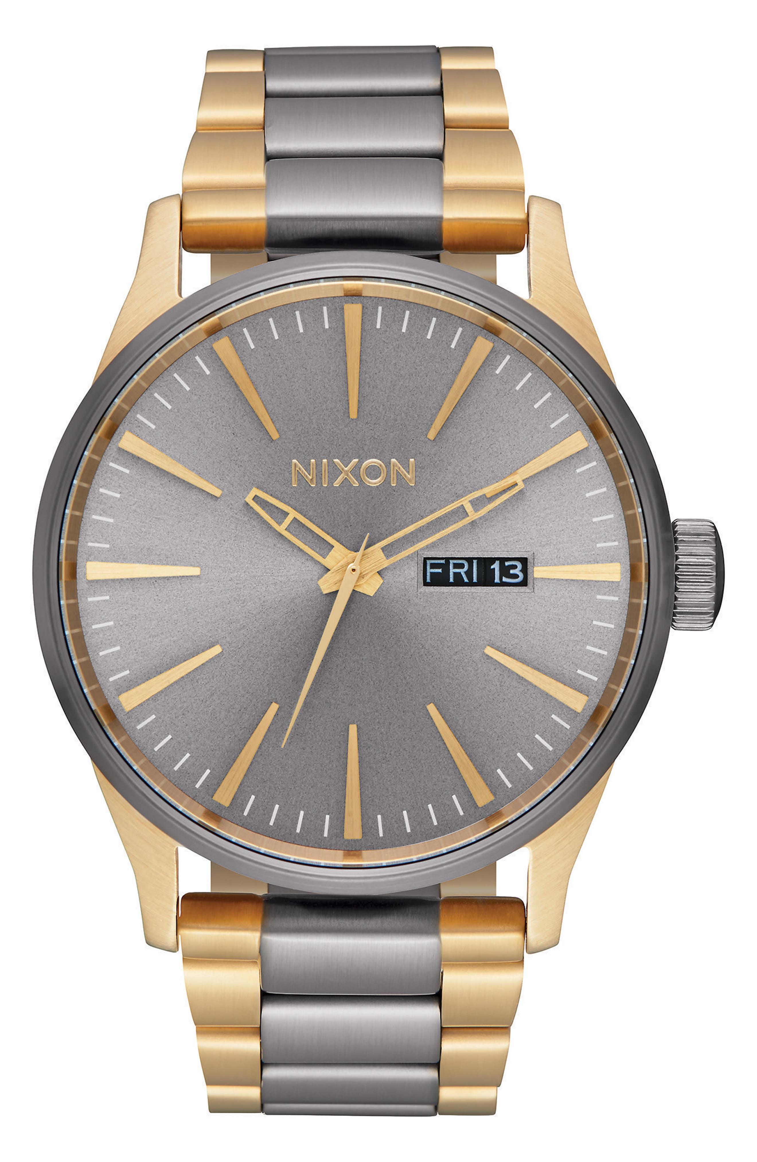 NIXON, 'The Sentry' Bracelet Watch, 42mm, Main thumbnail 1, color, GUNMETAL/ GOLD