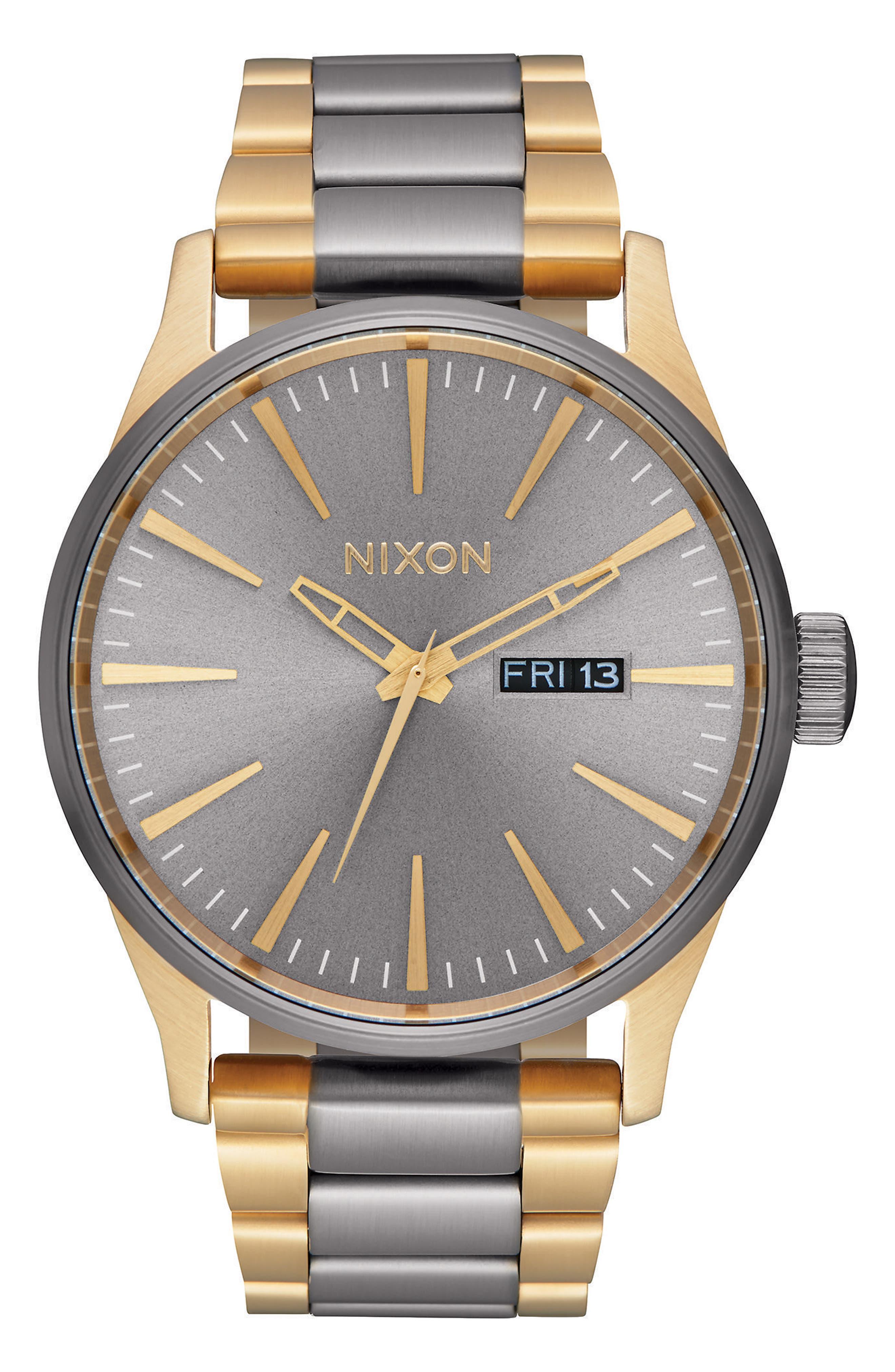 NIXON 'The Sentry' Bracelet Watch, 42mm, Main, color, GUNMETAL/ GOLD