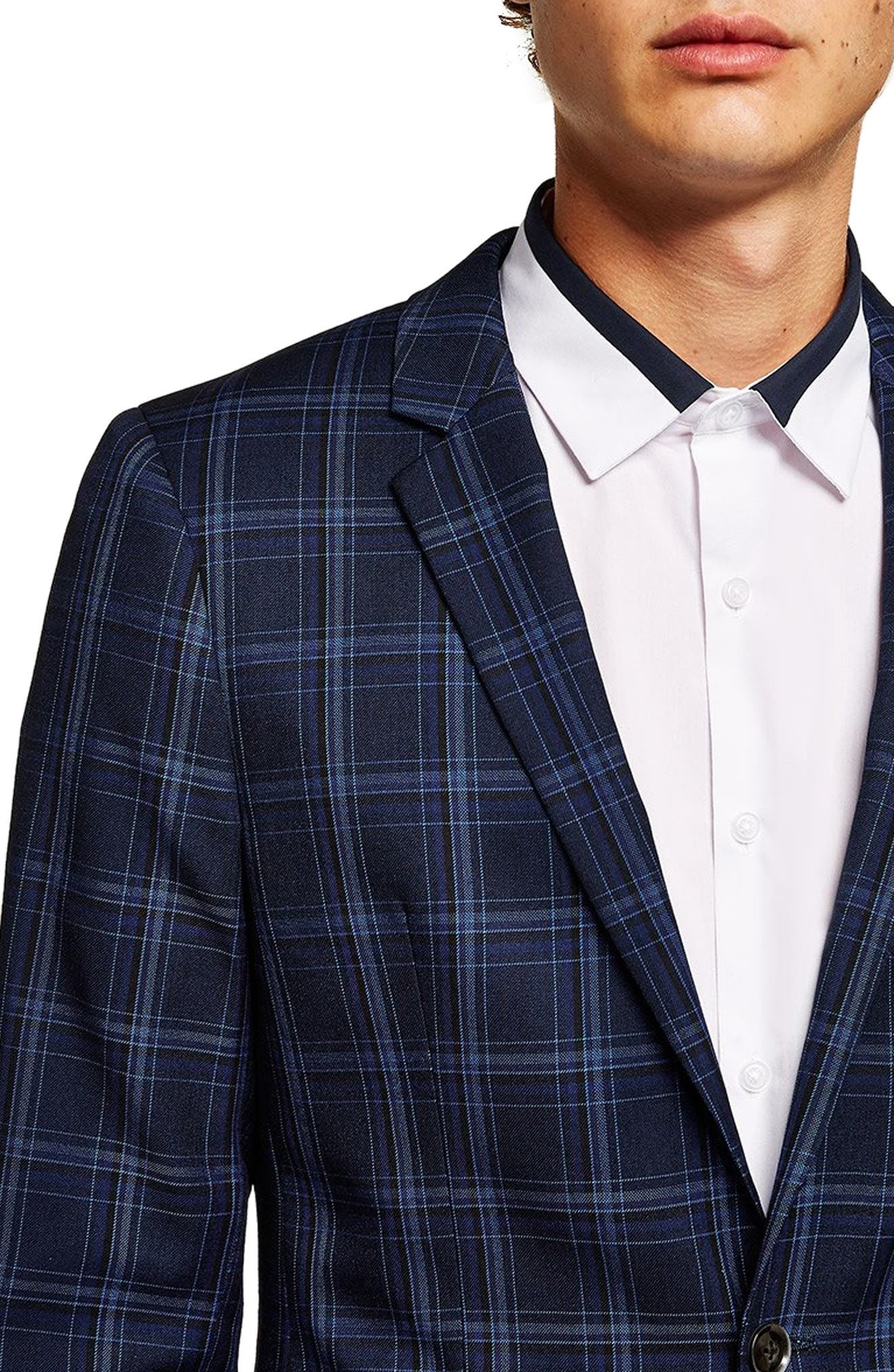 TOPMAN, Skinny Fit Check Suit Jacket, Alternate thumbnail 3, color, 400