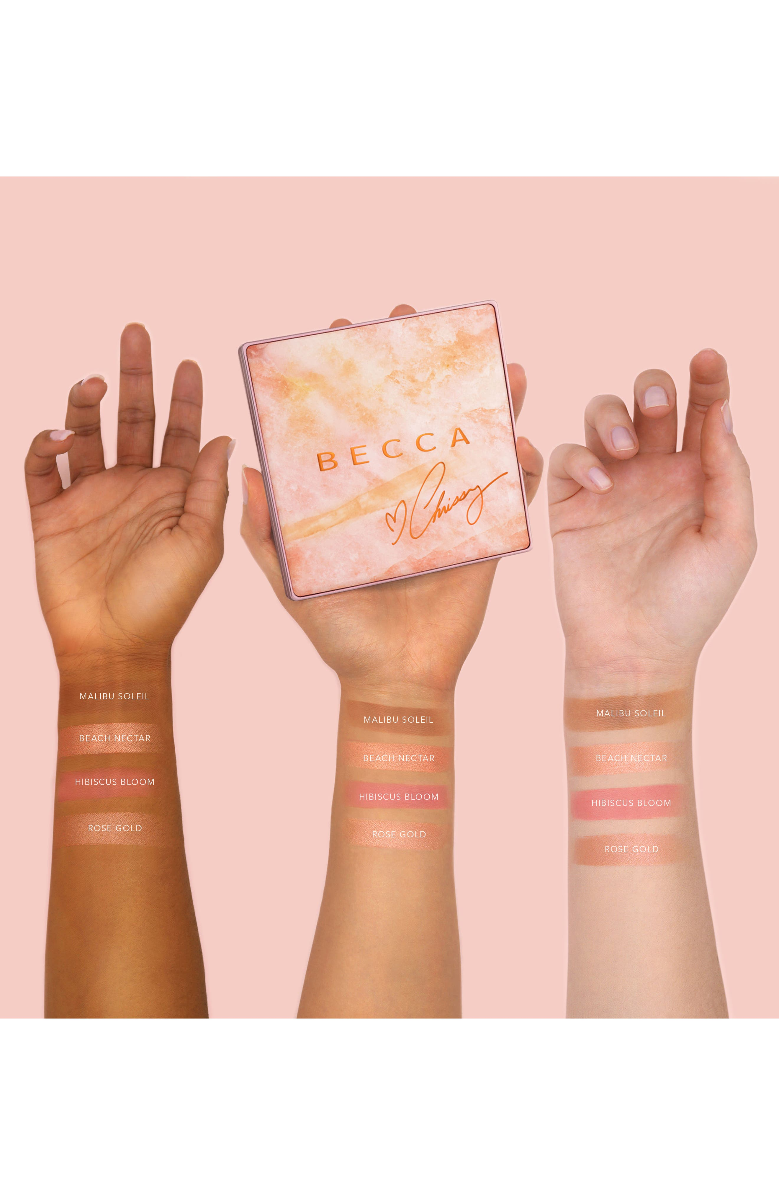 BECCA COSMETICS, BECCA x Chrissy Teigen Glow Face Palette, Alternate thumbnail 2, color, 000