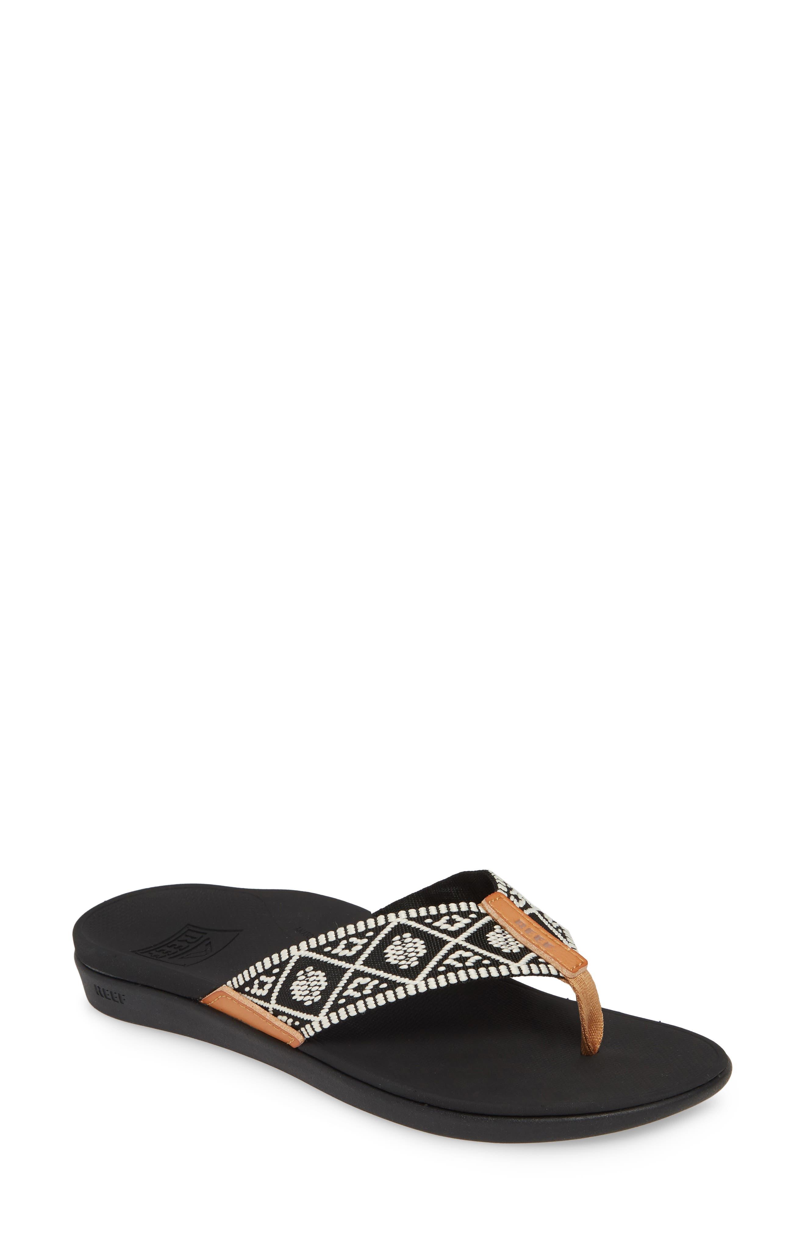REEF, Ortho-Bounce Woven Flip Flop, Main thumbnail 1, color, BLACK/ WHITE