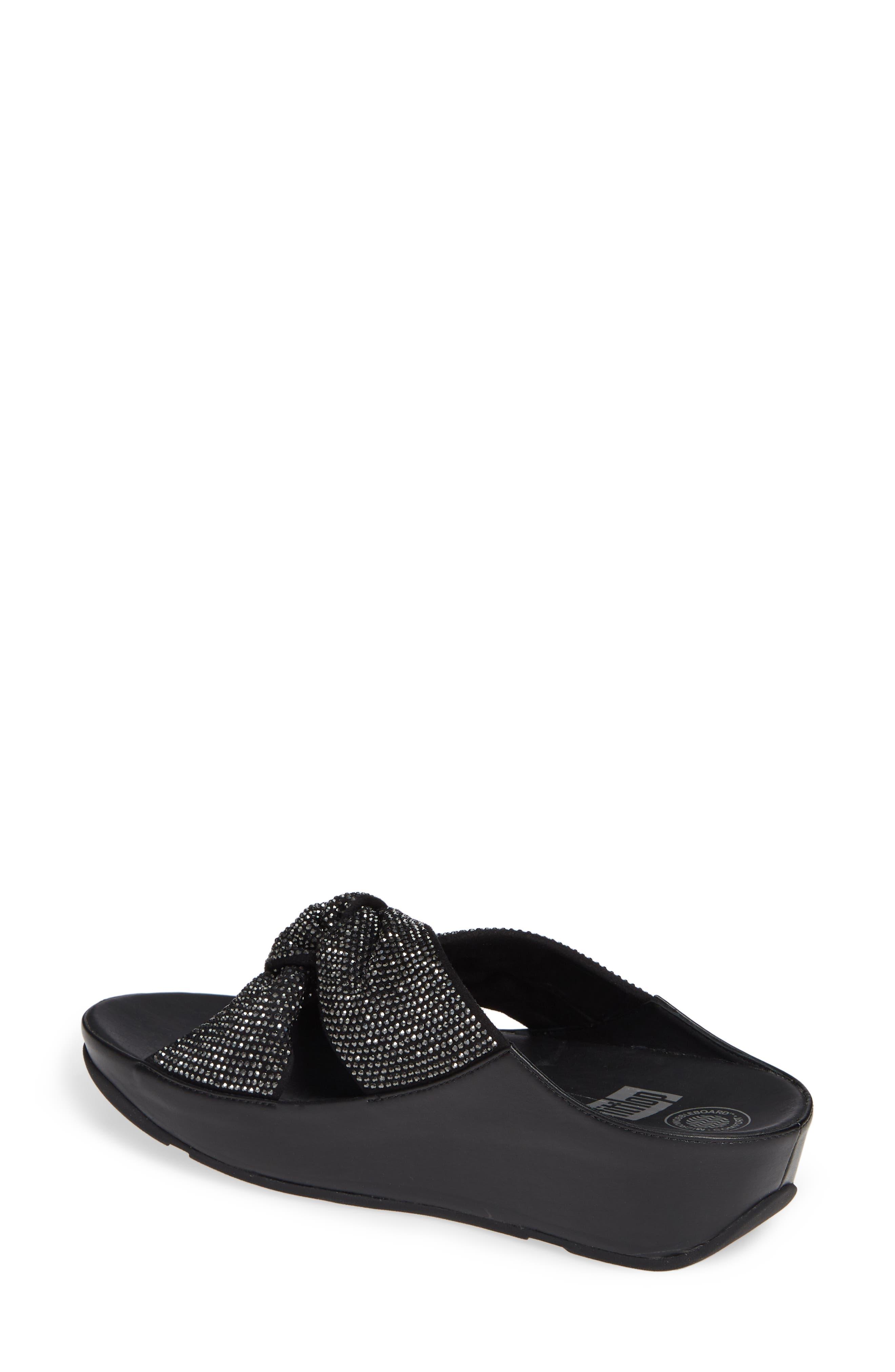 FITFLOP, Twiss Crystal Embellished Slide Sandal, Alternate thumbnail 2, color, BLACK FABRIC