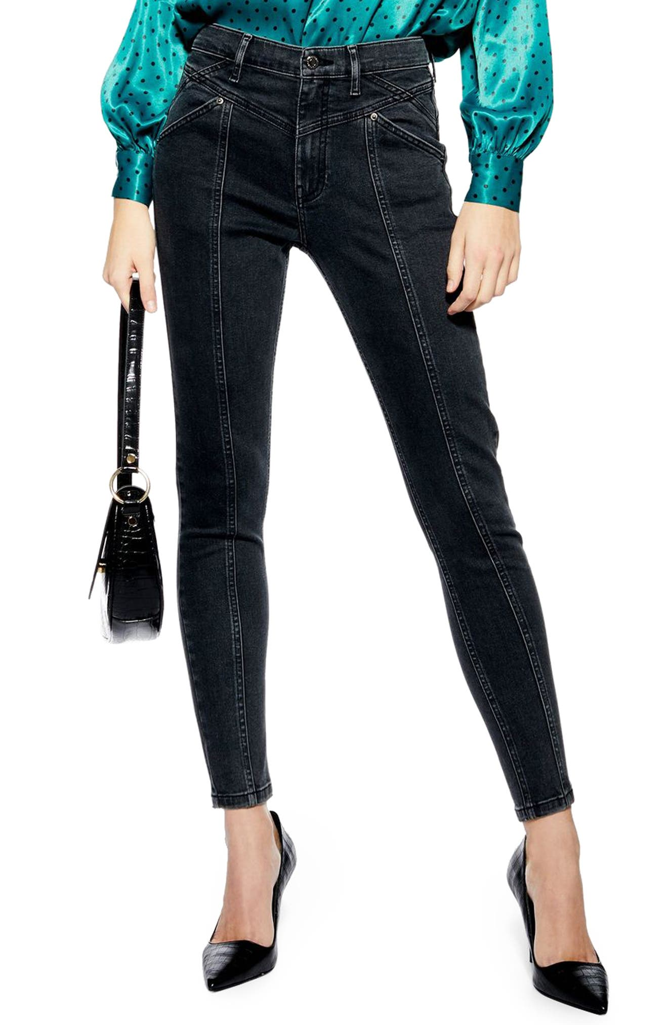 TOPSHOP, Jamie Panel High Waist Skinny Jeans, Main thumbnail 1, color, WASHED BLACK