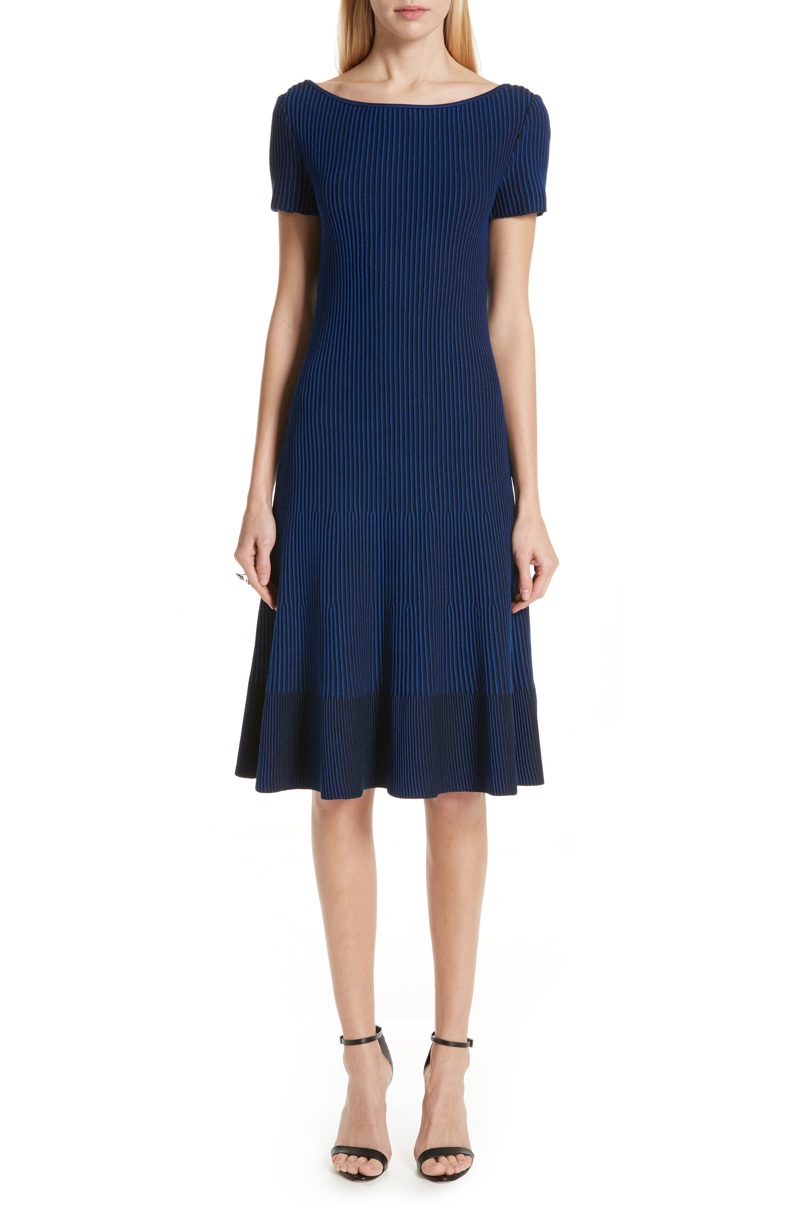 ST. JOHN COLLECTION, Ottoman Fit & Flare Sweater Dress, Main thumbnail 1, color, AZUL/ NAVY MULTI