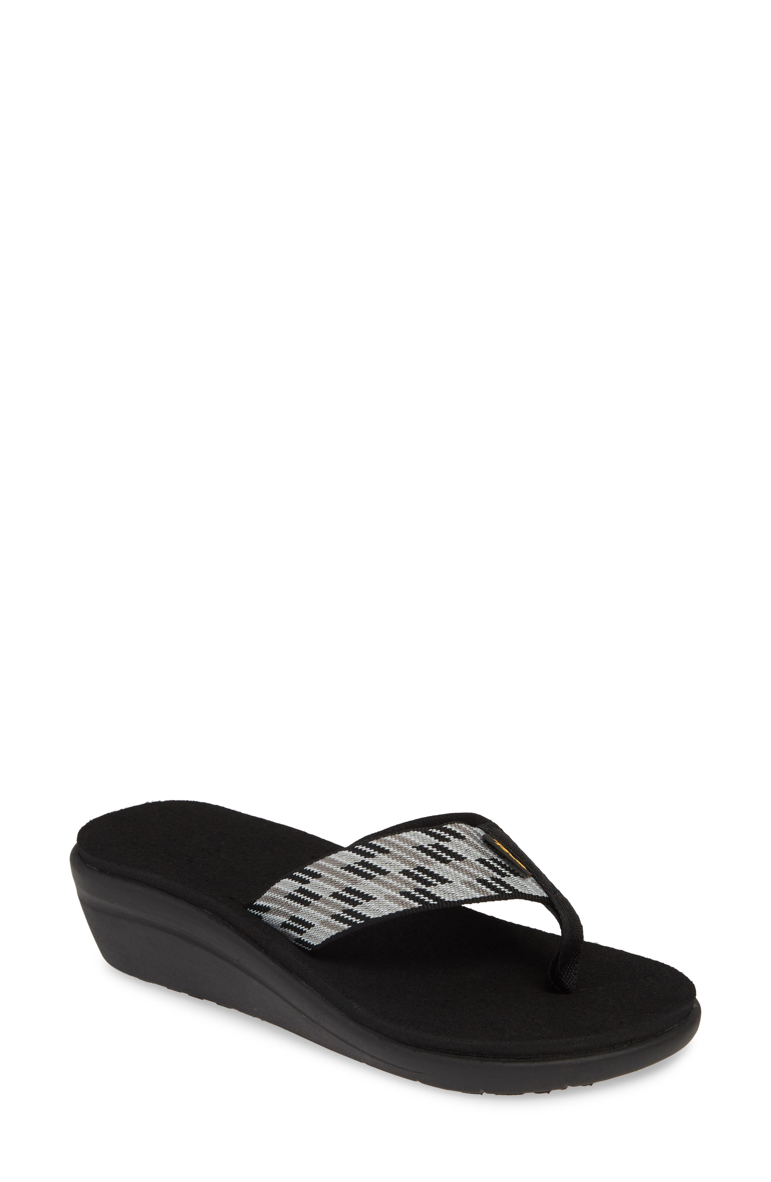 TEVA Voya Wedge Flip Flop, Main, color, BLACK WHITE FABRIC