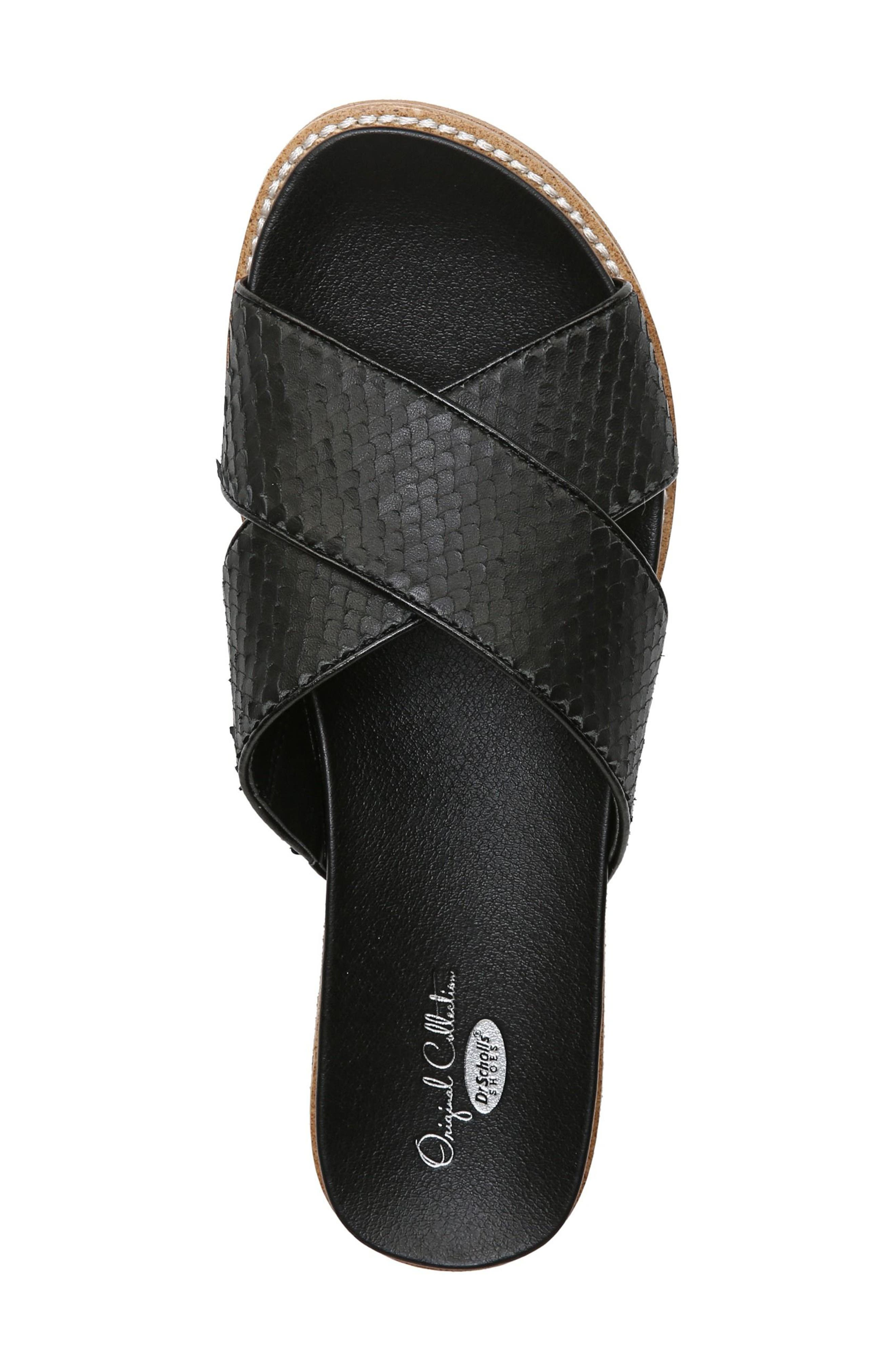 DR. SCHOLL'S, Deco Slide Sandal, Alternate thumbnail 5, color, BLACK LEATHER