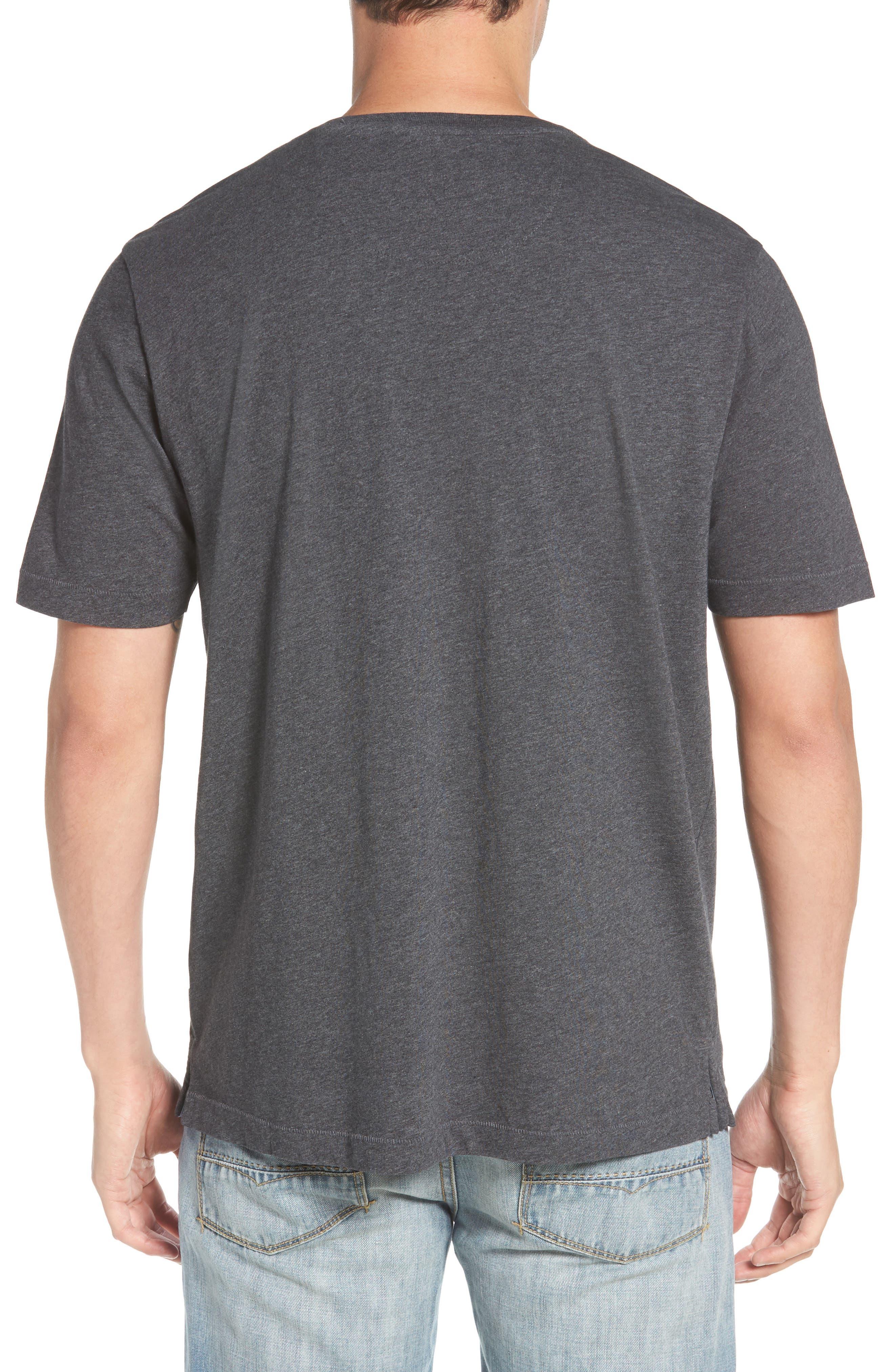 TOMMY BAHAMA, 'New Bali Sky' Original Fit Crewneck Pocket T-Shirt, Alternate thumbnail 2, color, CHARCOAL HEATHER