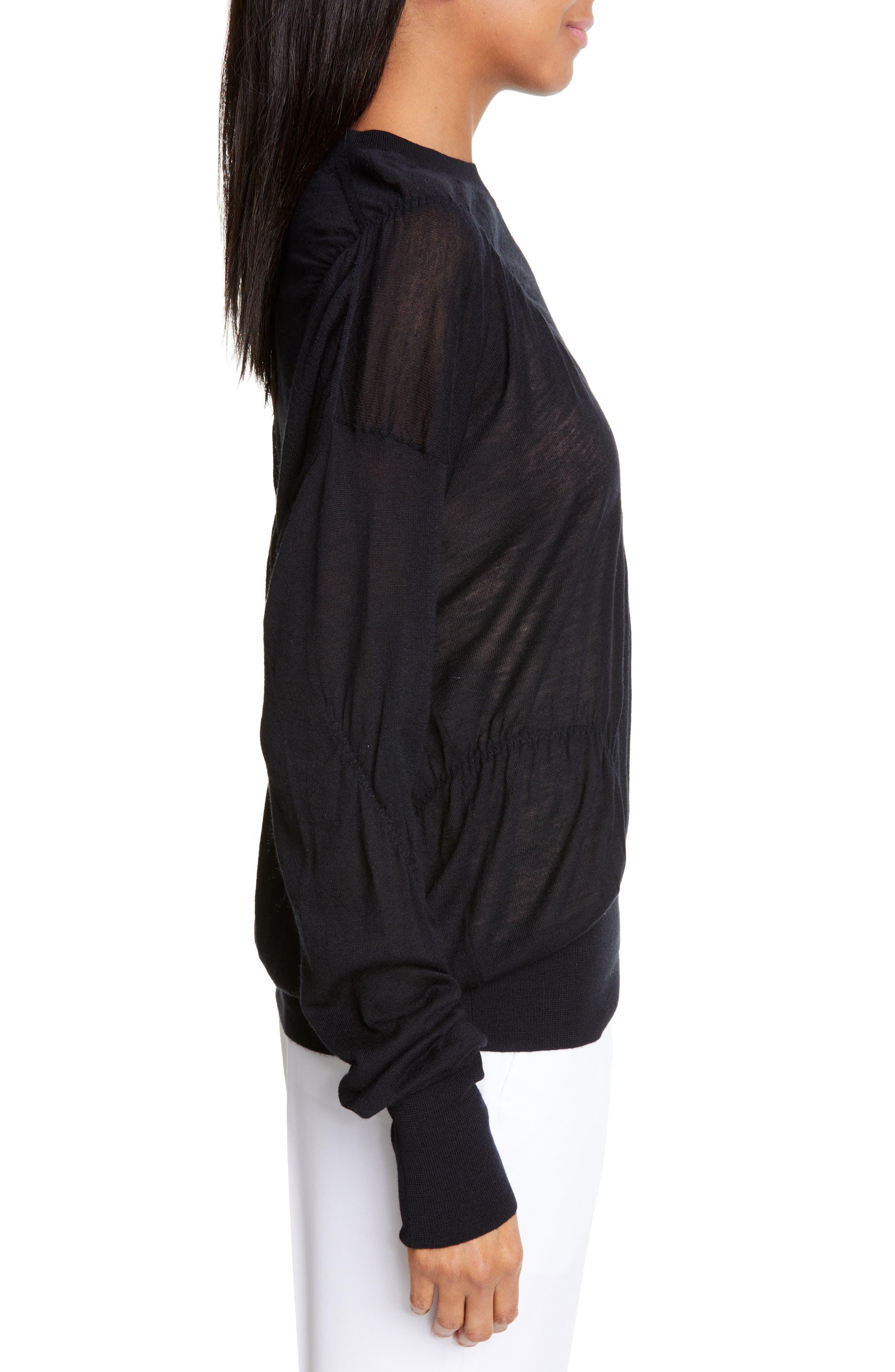 HELMUT LANG, Ruched Seam Detail Cashmere Sweater, Alternate thumbnail 3, color, BLACK