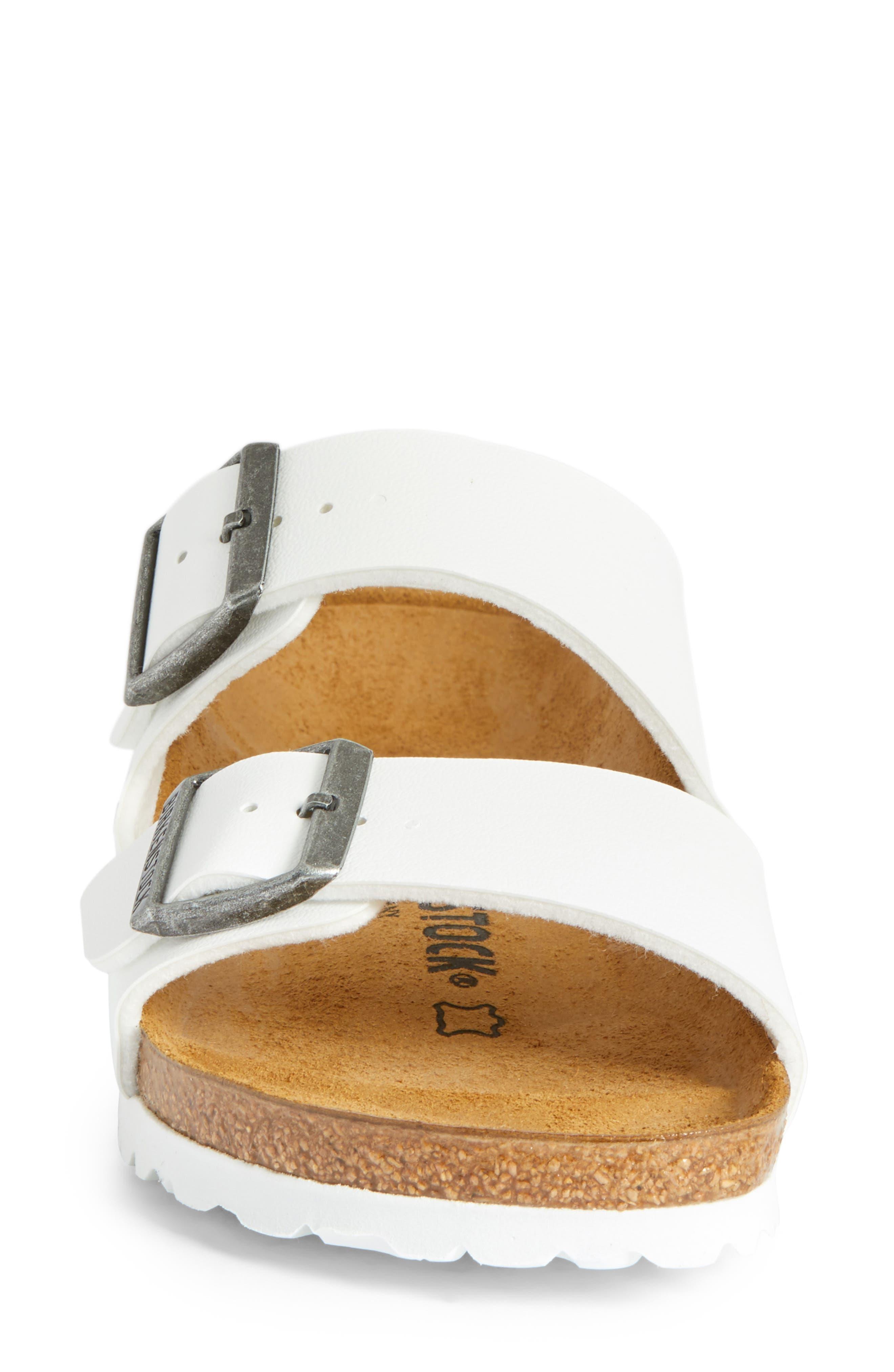 BIRKENSTOCK, 'Arizona' White Birko-Flor Sandal, Alternate thumbnail 4, color, WHITE SYNTHETIC LEATHER