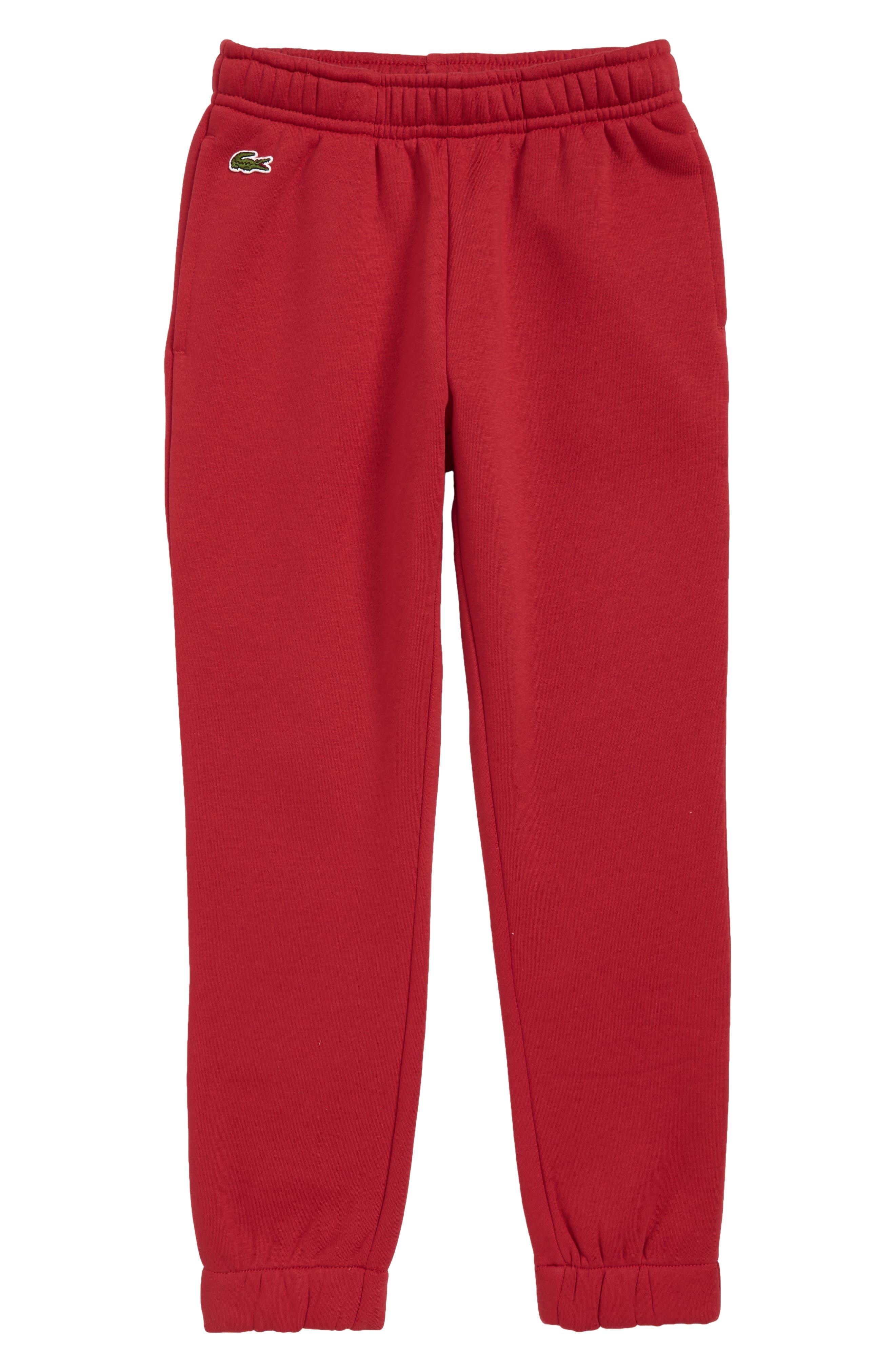 LACOSTE, Fleece Pants, Main thumbnail 1, color, LIGHTHOUSE RED