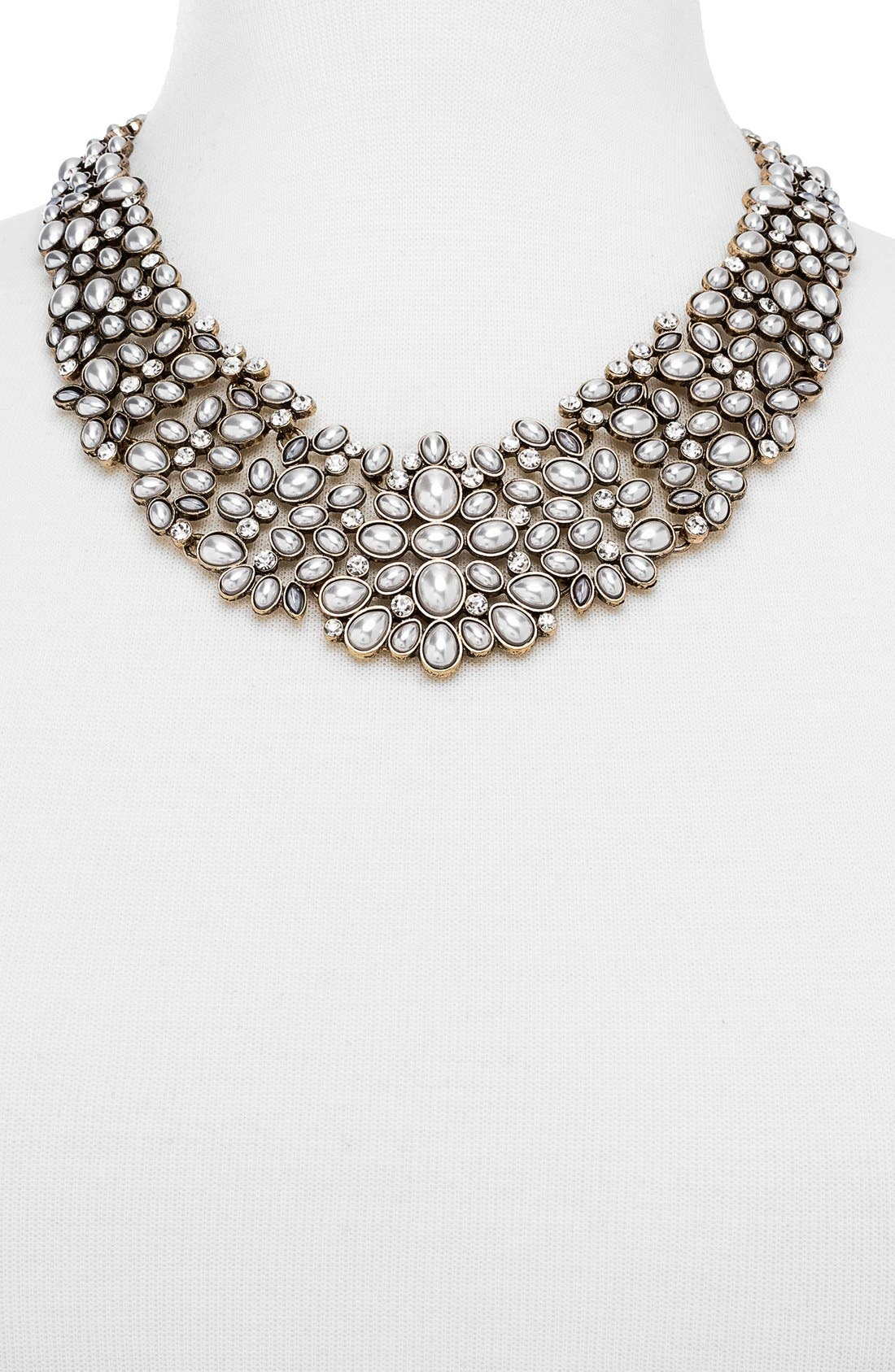BAUBLEBAR, 'Kew' Crystal Collar Necklace, Alternate thumbnail 5, color, PEARL/ GOLD