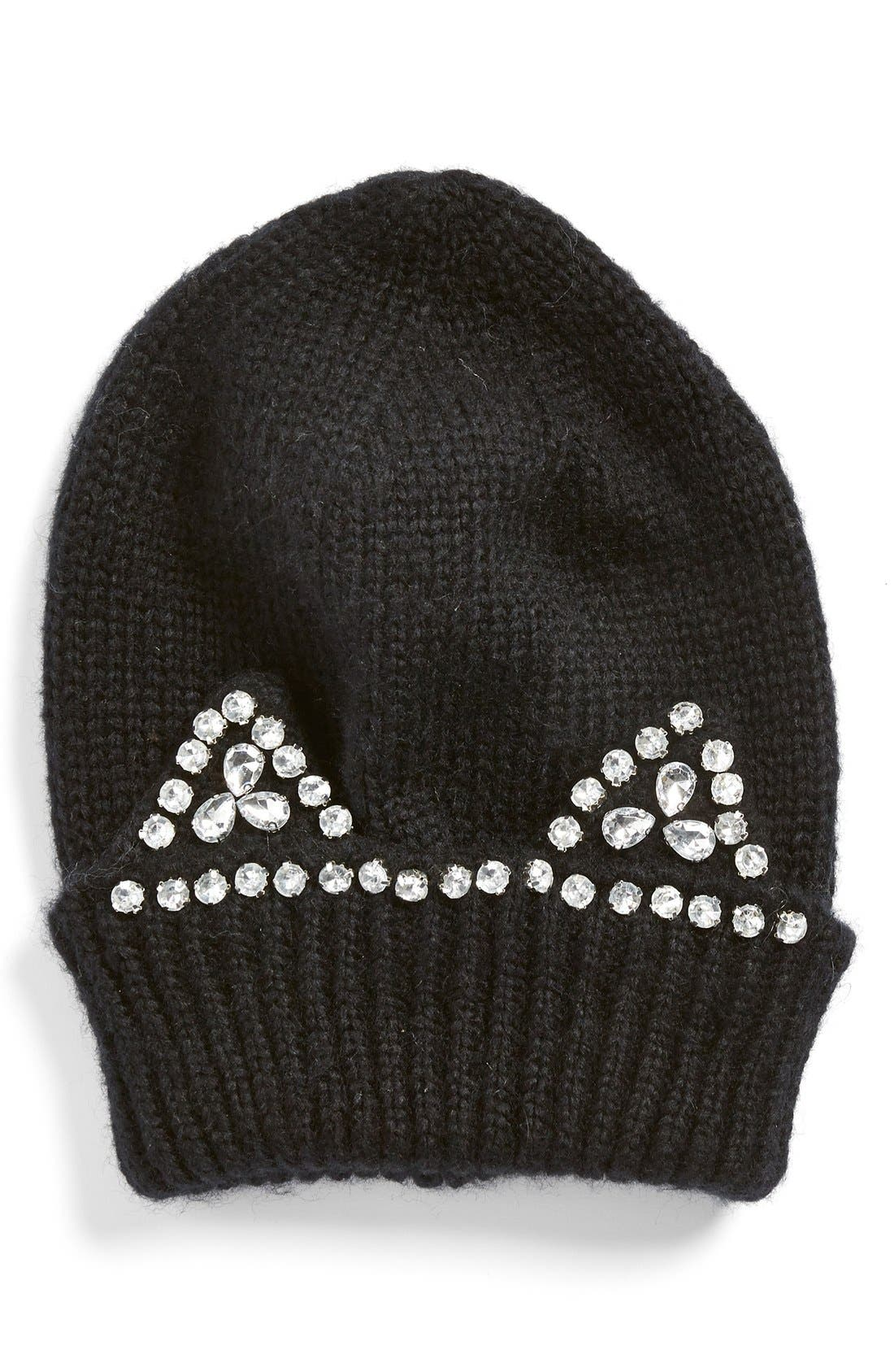 BERRY, 'Jeweled Kitty' Beanie, Main thumbnail 1, color, 001