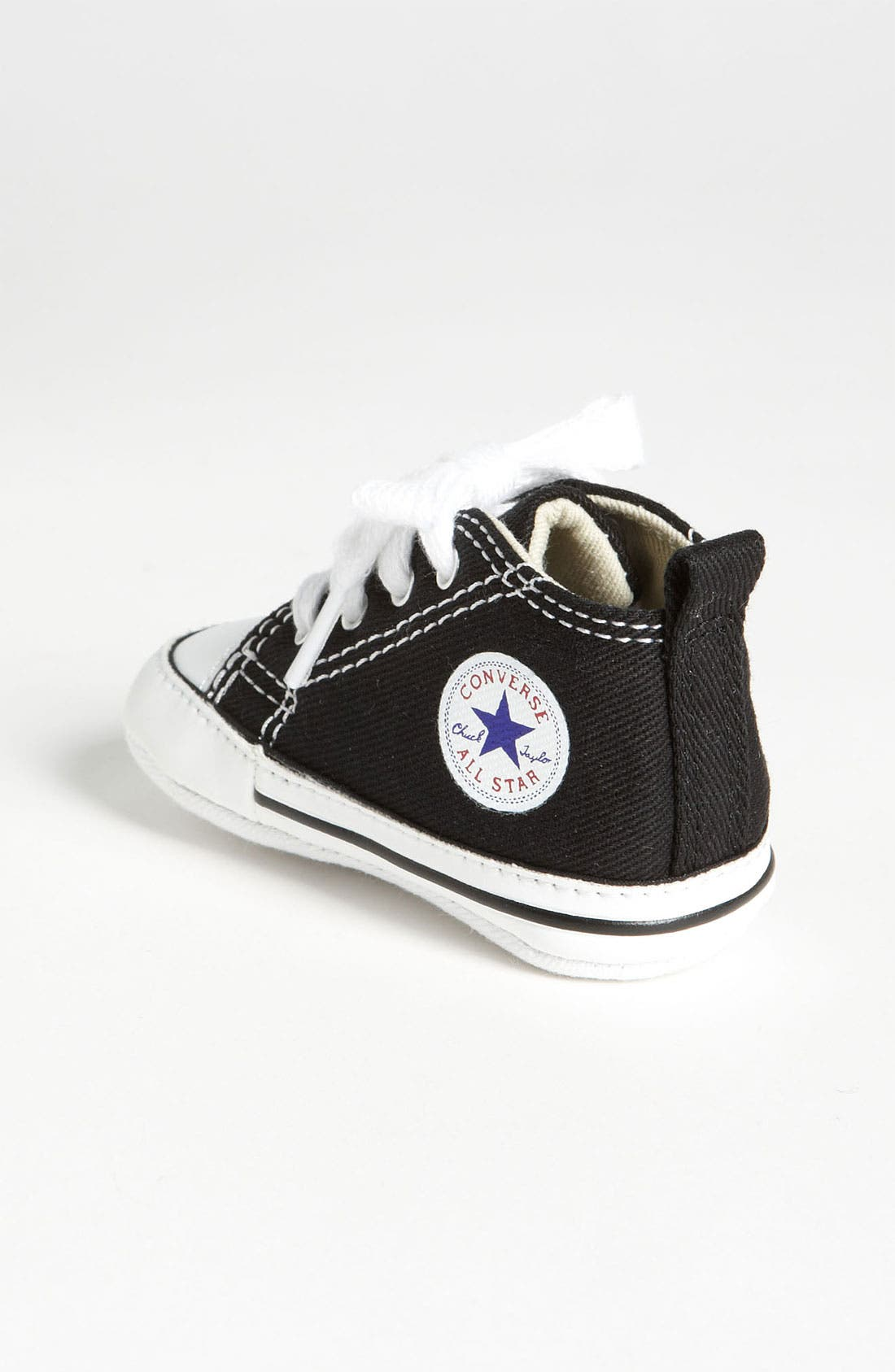 CONVERSE, Chuck Taylor<sup>®</sup> Crib Sneaker, Alternate thumbnail 2, color, BLACK