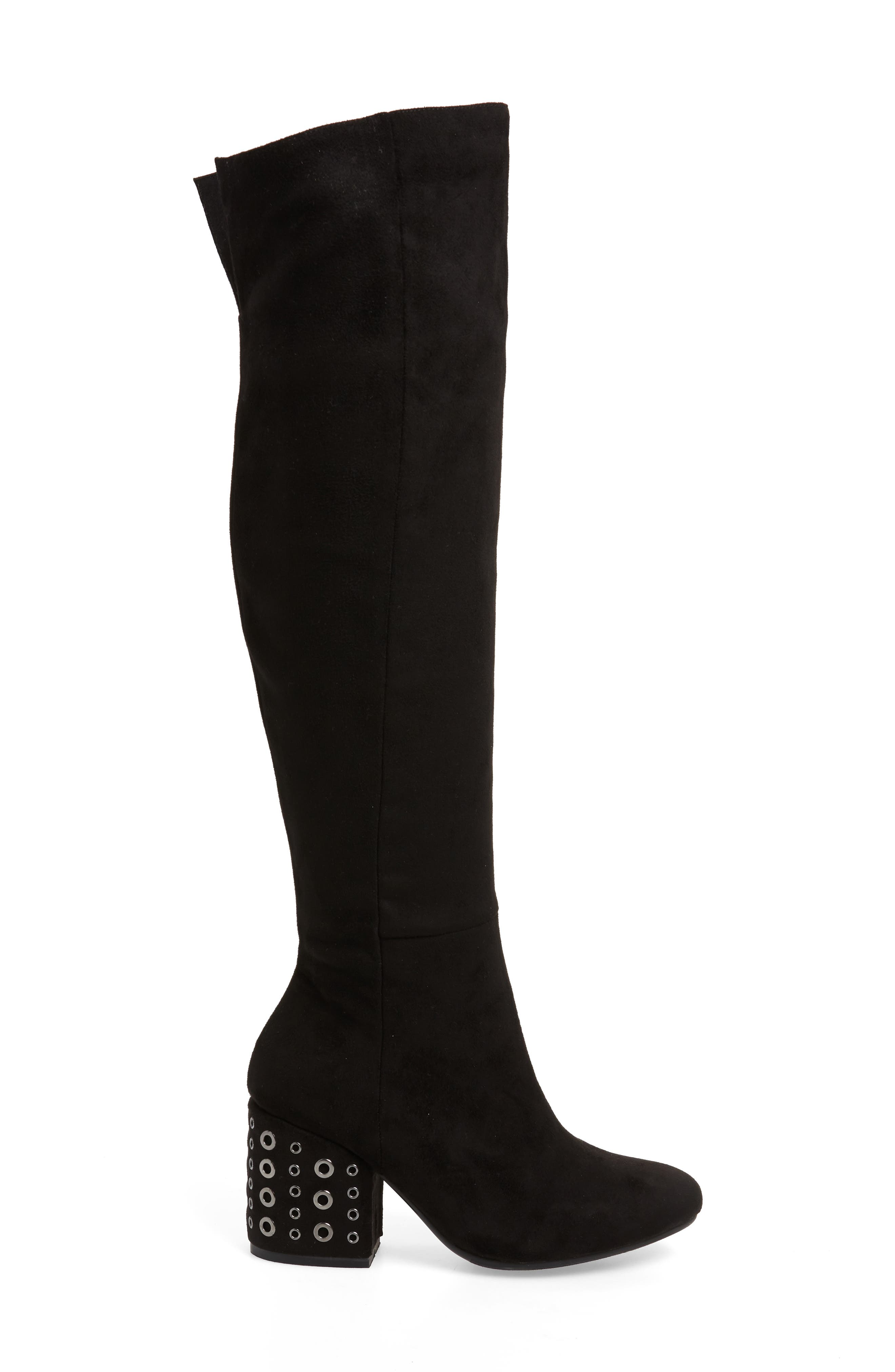 SBICCA, Ellaria Over the Knee Boot, Alternate thumbnail 3, color, BLACK FABRIC