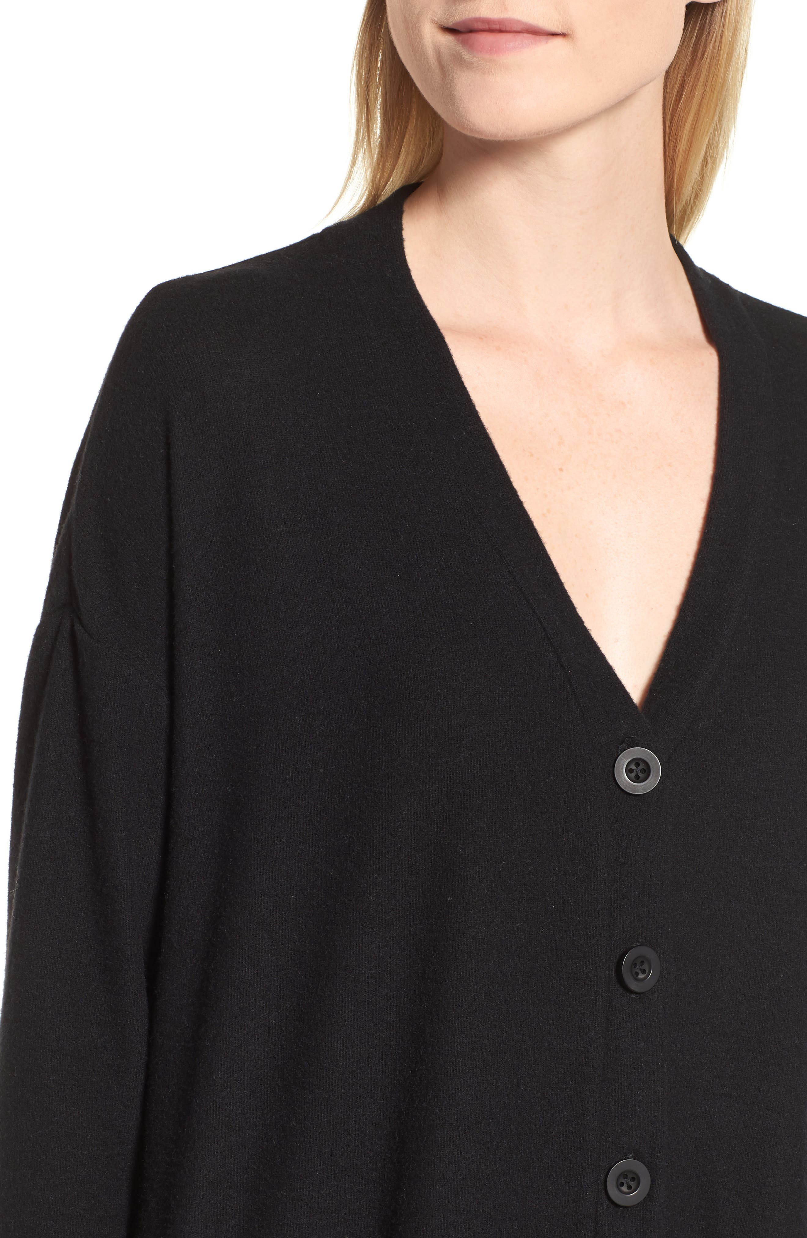 GIBSON, High/Low Easy Cardigan, Alternate thumbnail 5, color, BLACK