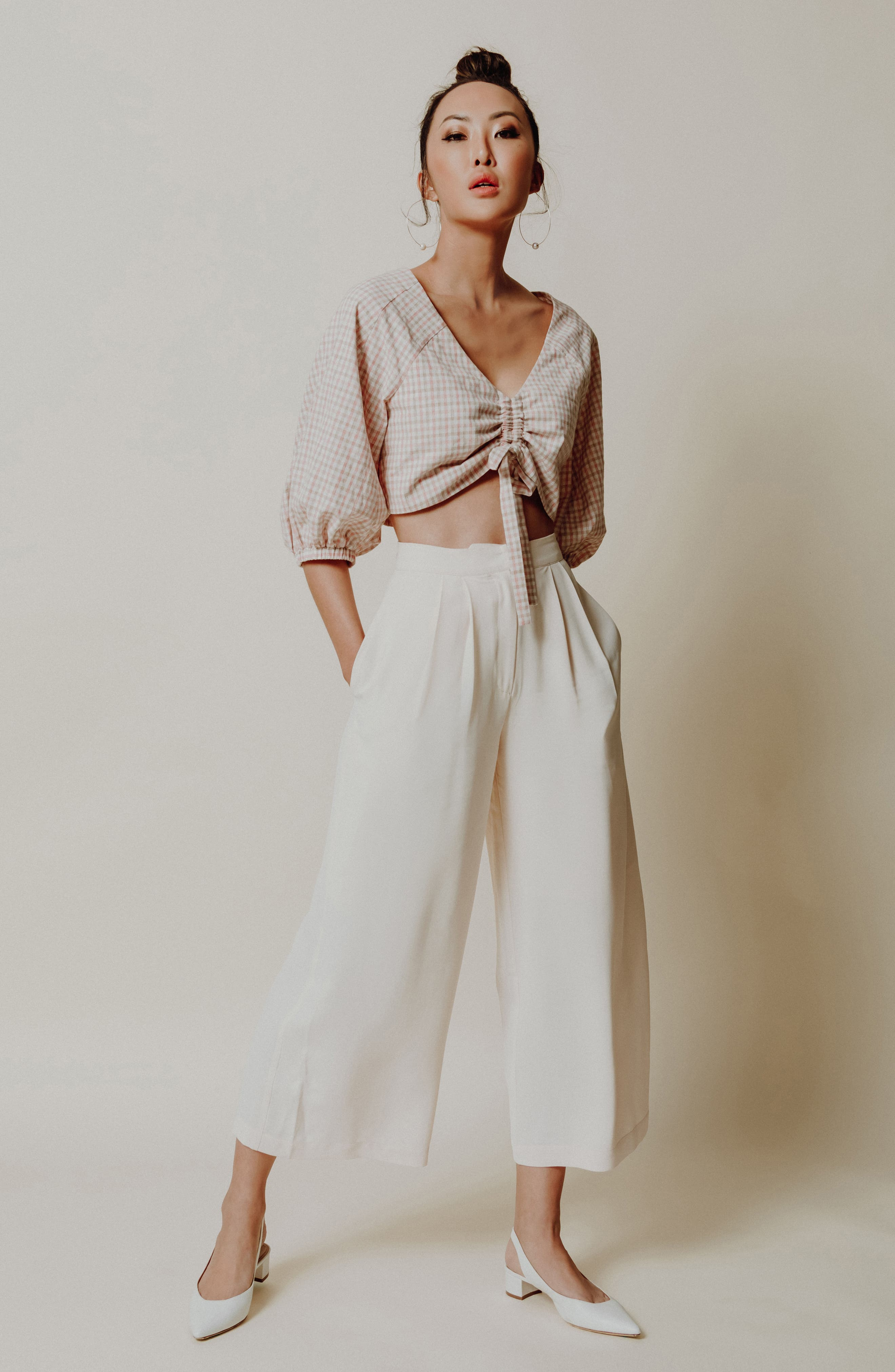 J.O.A., Chriselle x J.O.A. Ruched Front Crop Top, Alternate thumbnail 7, color, 650